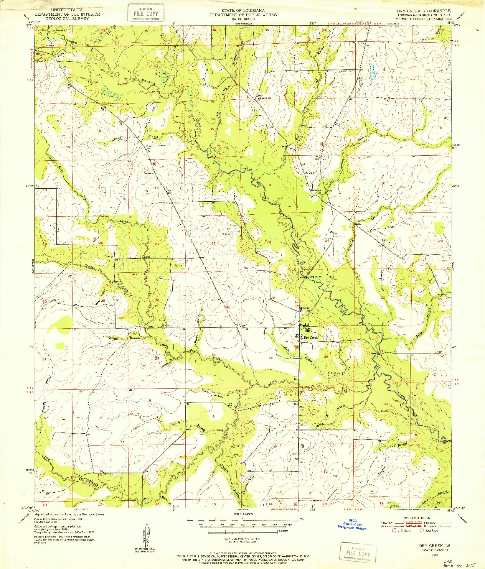 USGS 1:24000-SCALE QUADRANGLE FOR DRY CREEK, LA 1950
