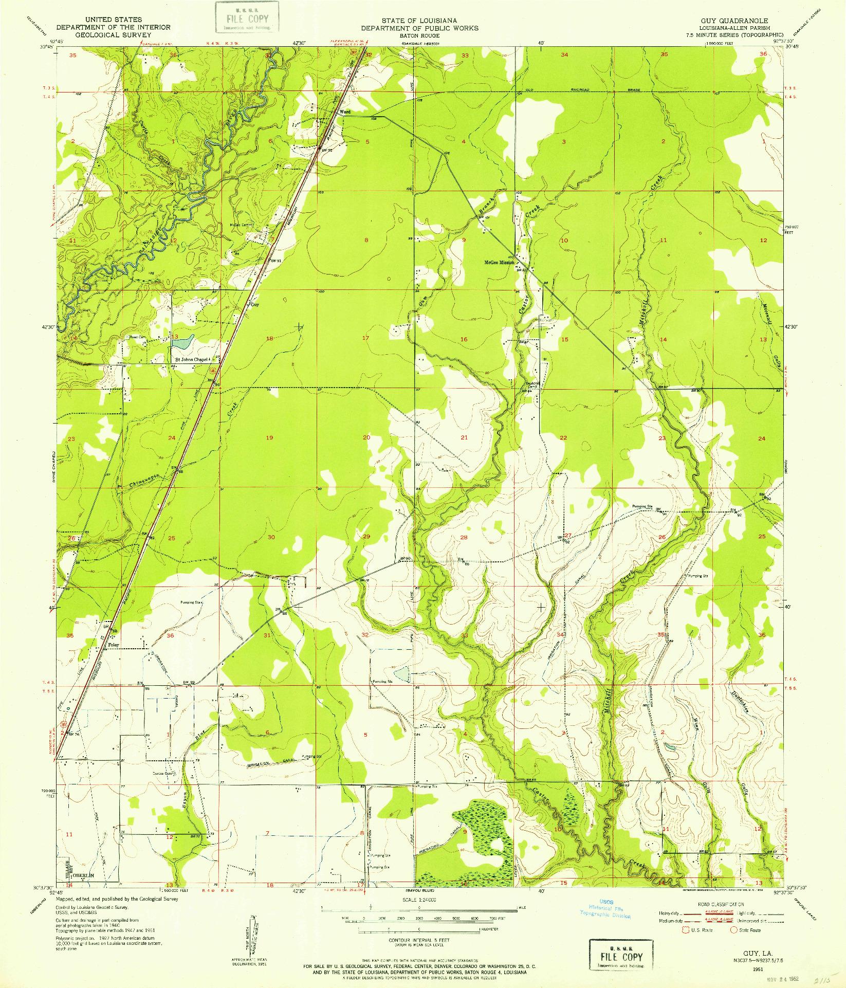 USGS 1:24000-SCALE QUADRANGLE FOR GUY, LA 1951