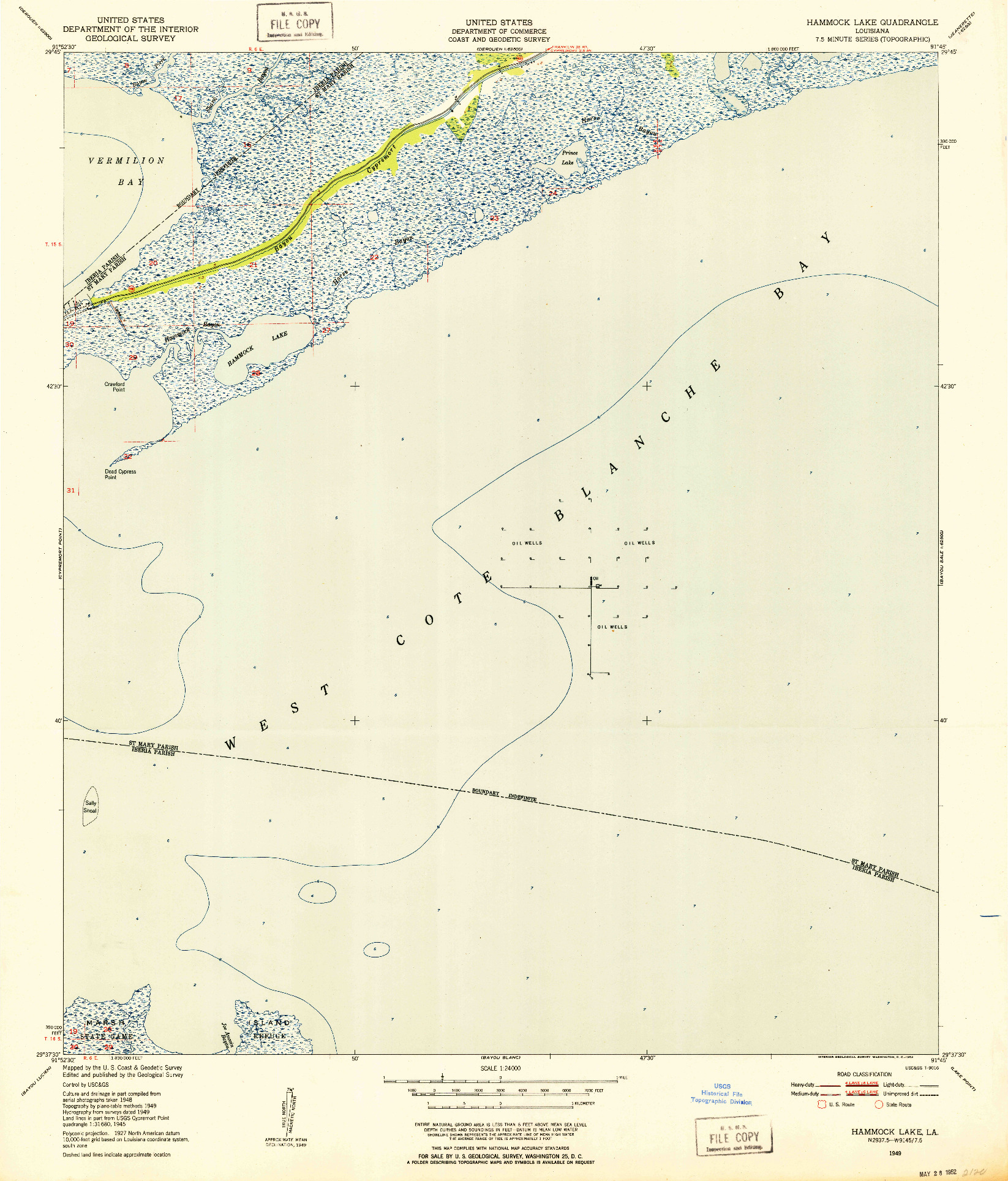 USGS 1:24000-SCALE QUADRANGLE FOR HAMMOCK LAKE, LA 1949