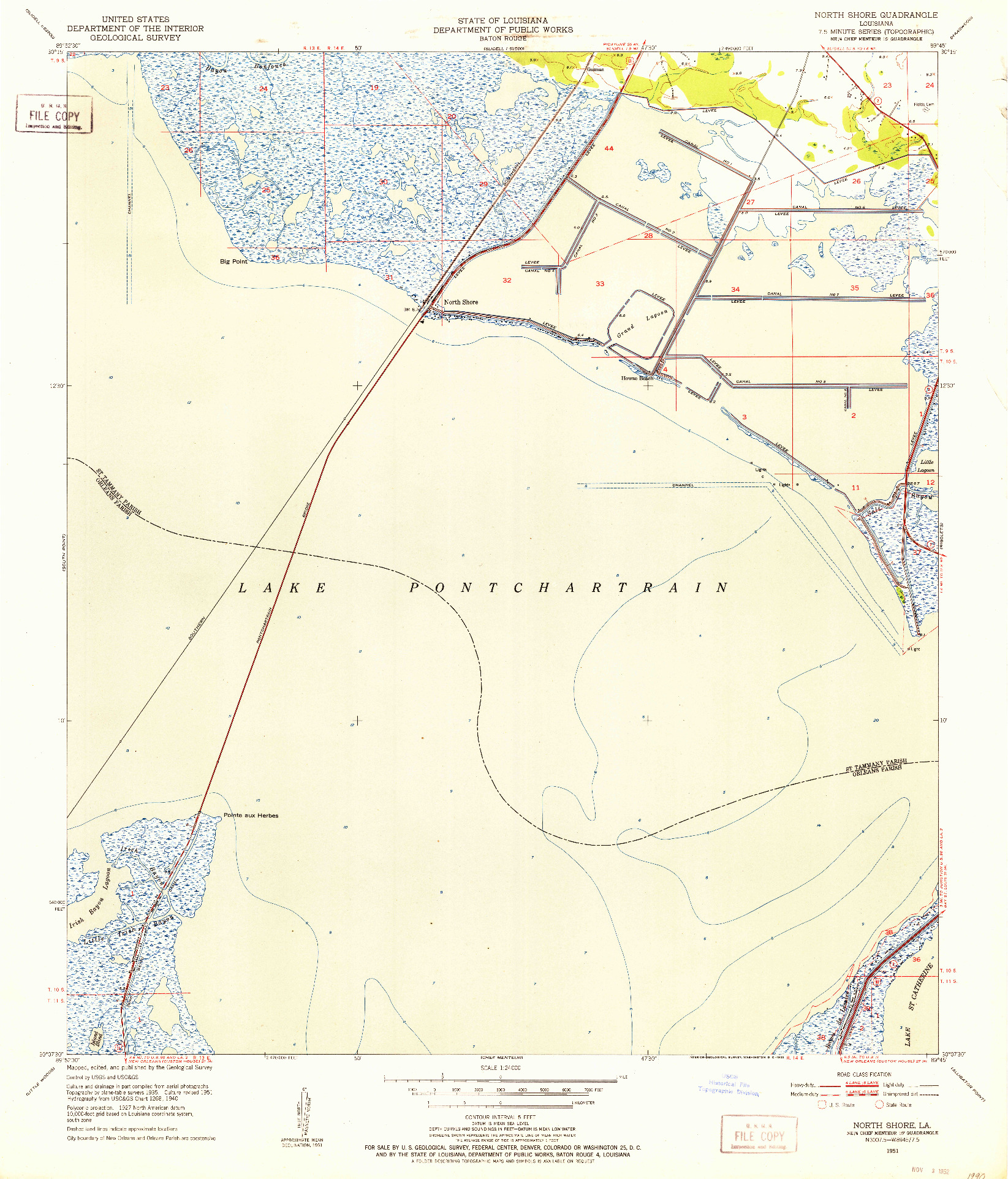 USGS 1:24000-SCALE QUADRANGLE FOR NORTH SHORE, LA 1951