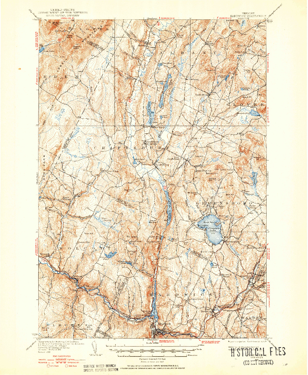 USGS 1:62500-SCALE QUADRANGLE FOR HARDWICK, VT 1951