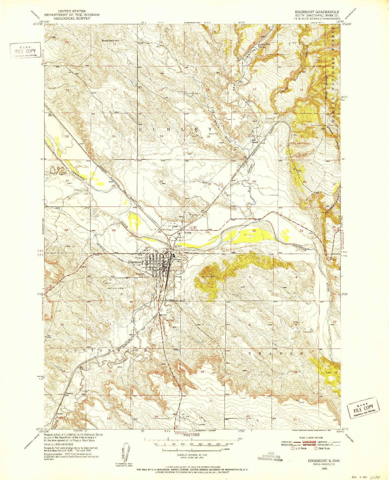 USGS 1:24000-SCALE QUADRANGLE FOR EDGEMONT, SD 1950
