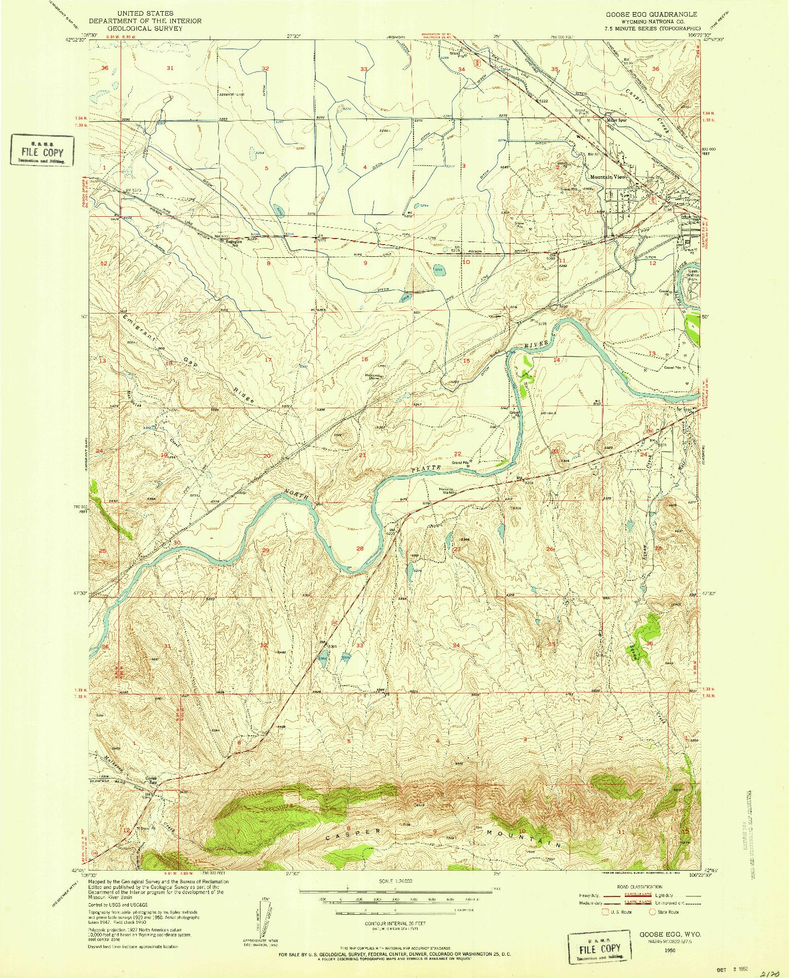 USGS 1:24000-SCALE QUADRANGLE FOR GOOSE EGG, WY 1950