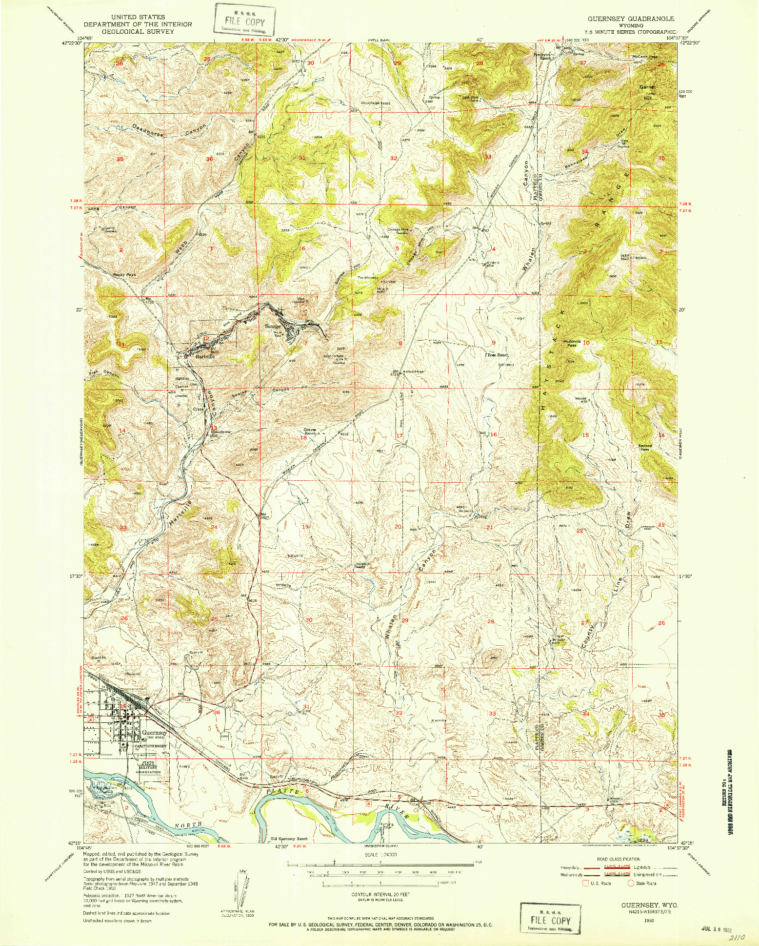 USGS 1:24000-SCALE QUADRANGLE FOR GUERNSEY, WY 1950
