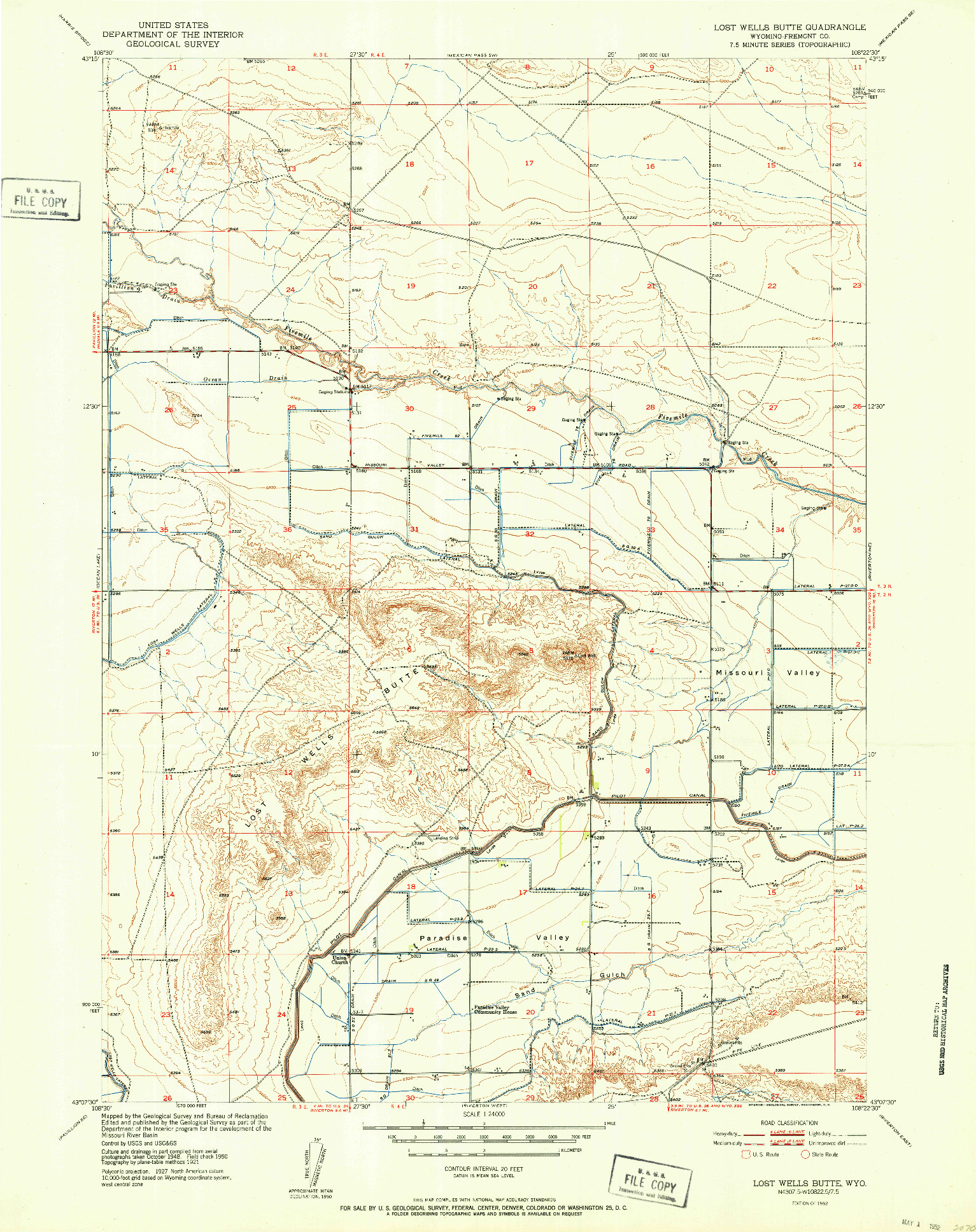 USGS 1:24000-SCALE QUADRANGLE FOR LOST WELLS BUTTE, WY 1952
