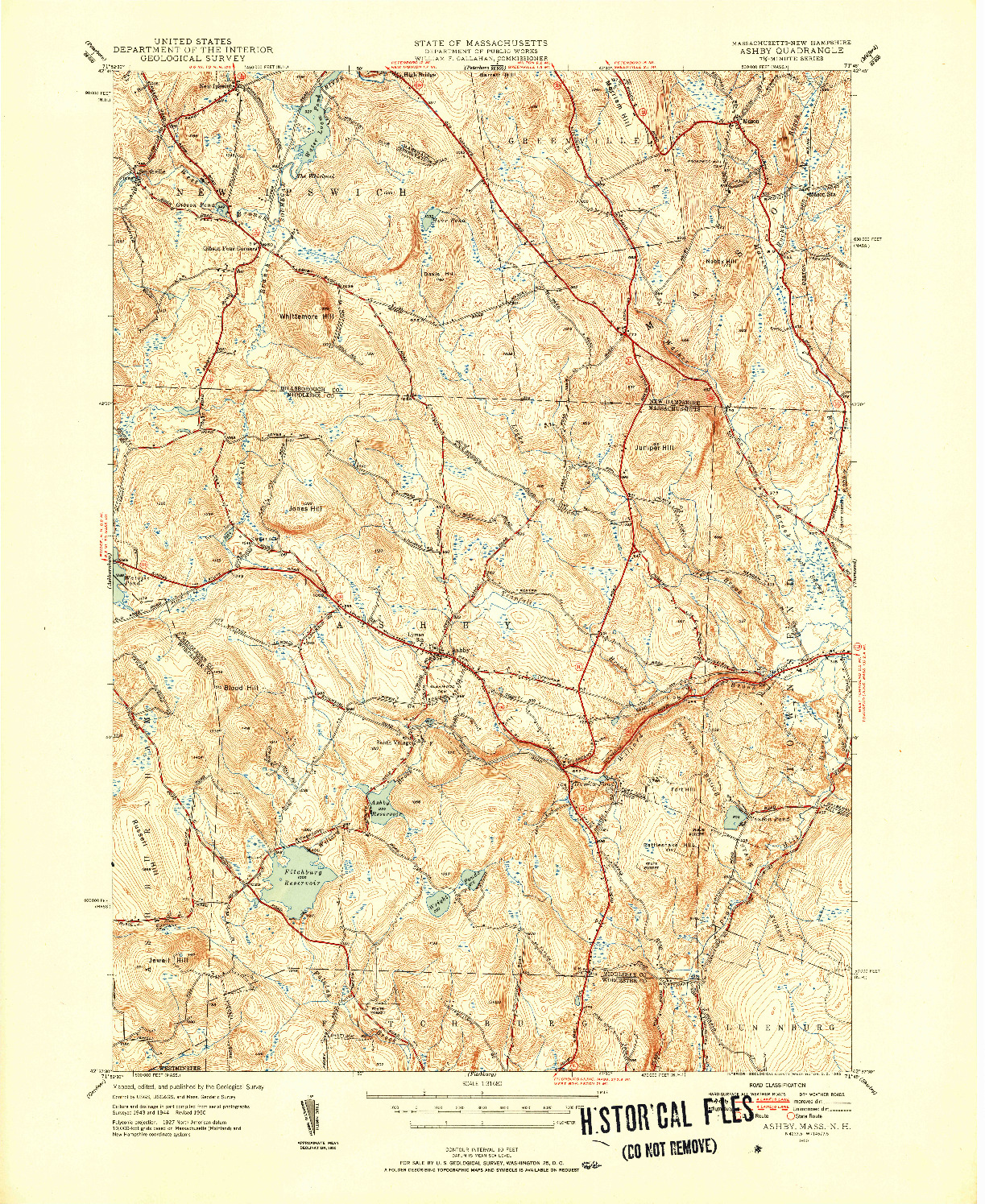 USGS 1:31680-SCALE QUADRANGLE FOR ASHBY, MA 1950