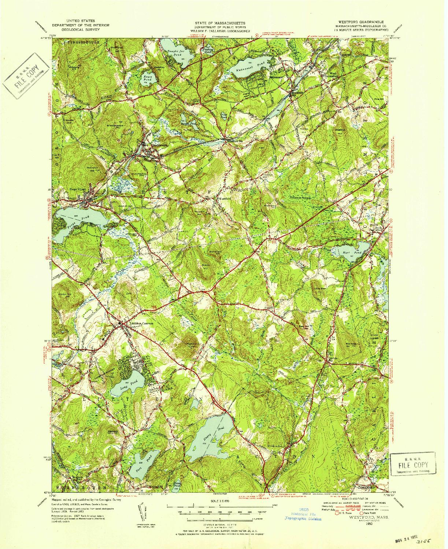 USGS 1:31680-SCALE QUADRANGLE FOR WESTFORD, MA 1950