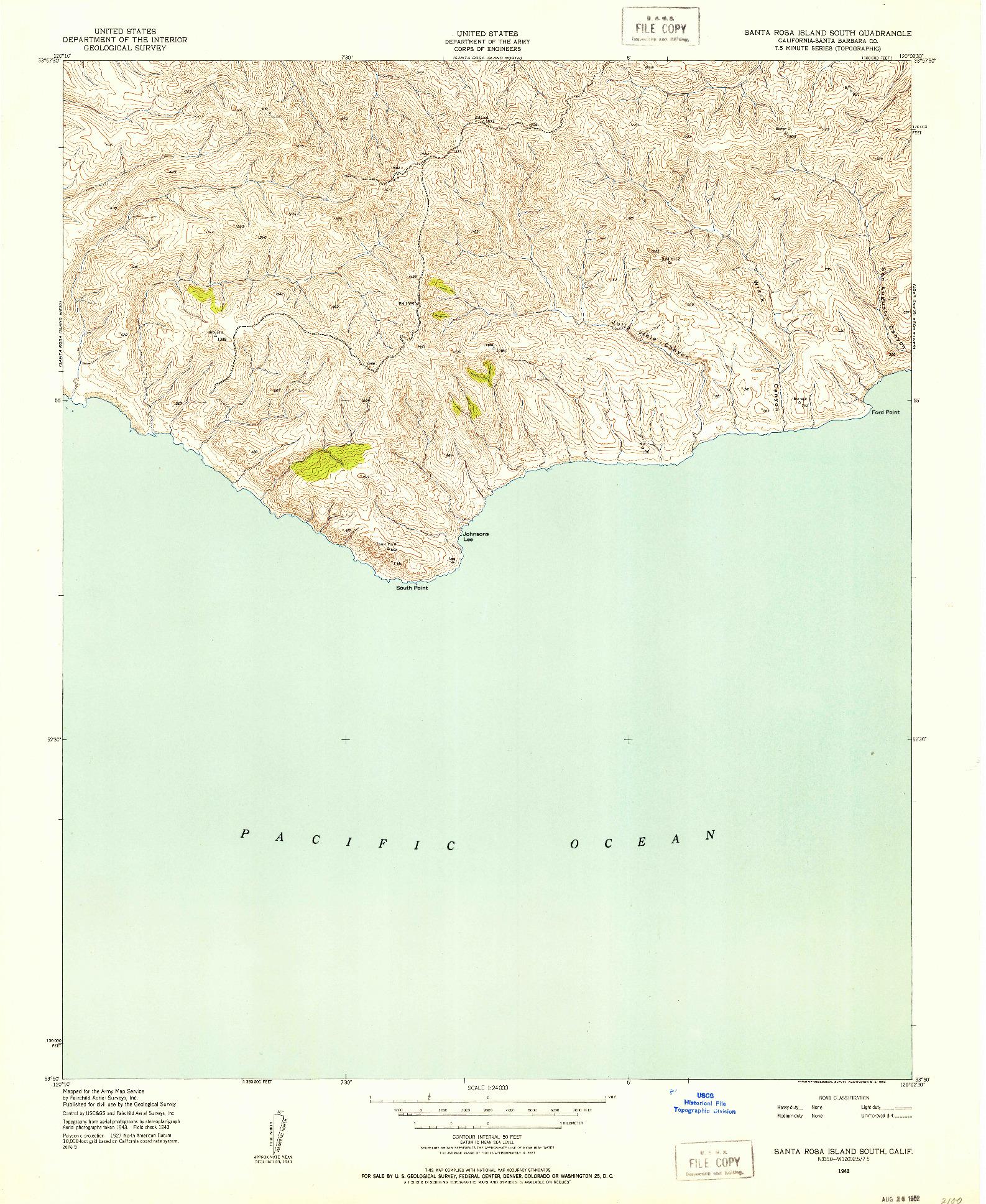 USGS 1:24000-SCALE QUADRANGLE FOR SANTA ROSA ISLAND SOUTH, CA 1943