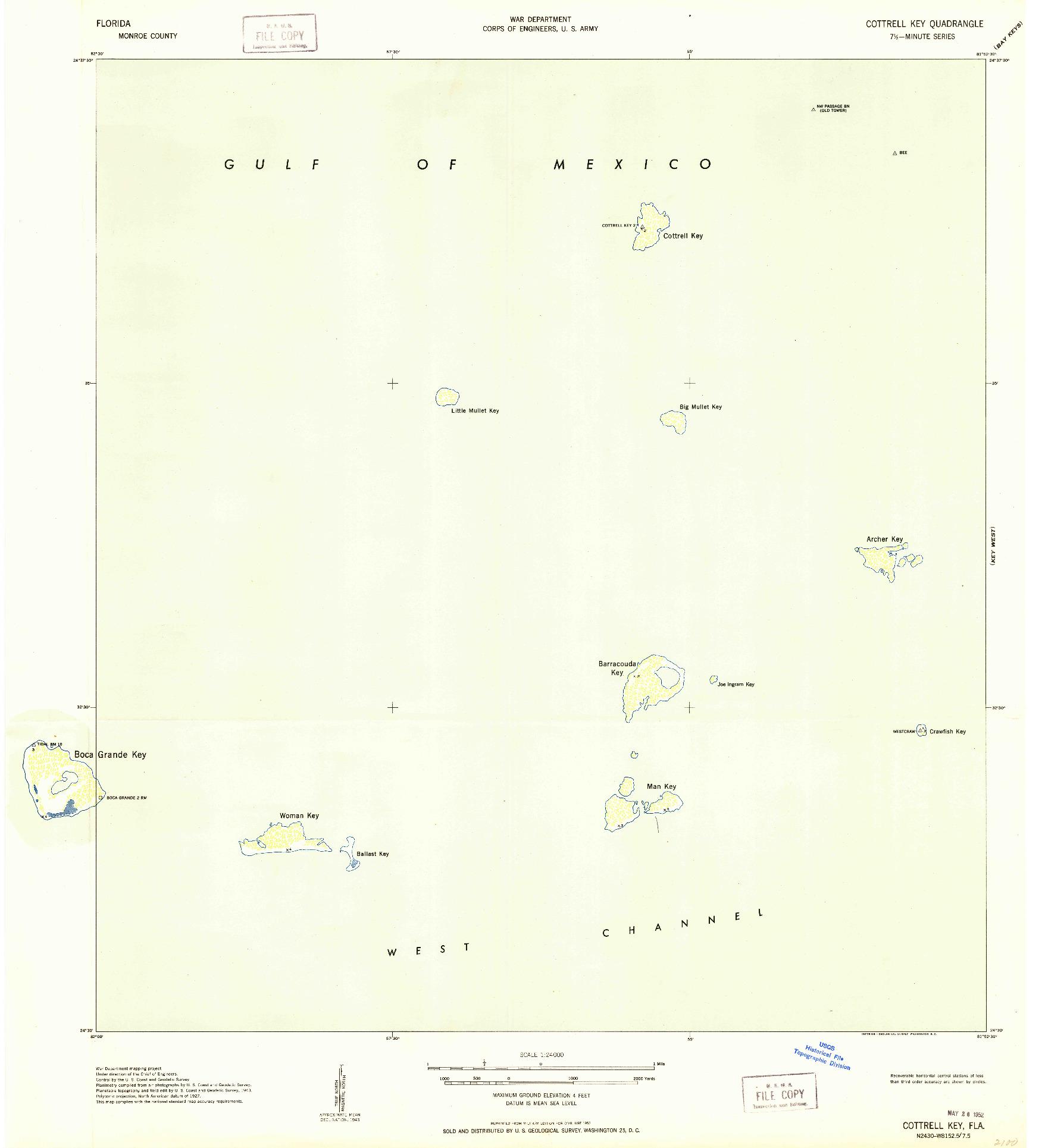 USGS 1:24000-SCALE QUADRANGLE FOR COTTRELL KEY, FL 1943