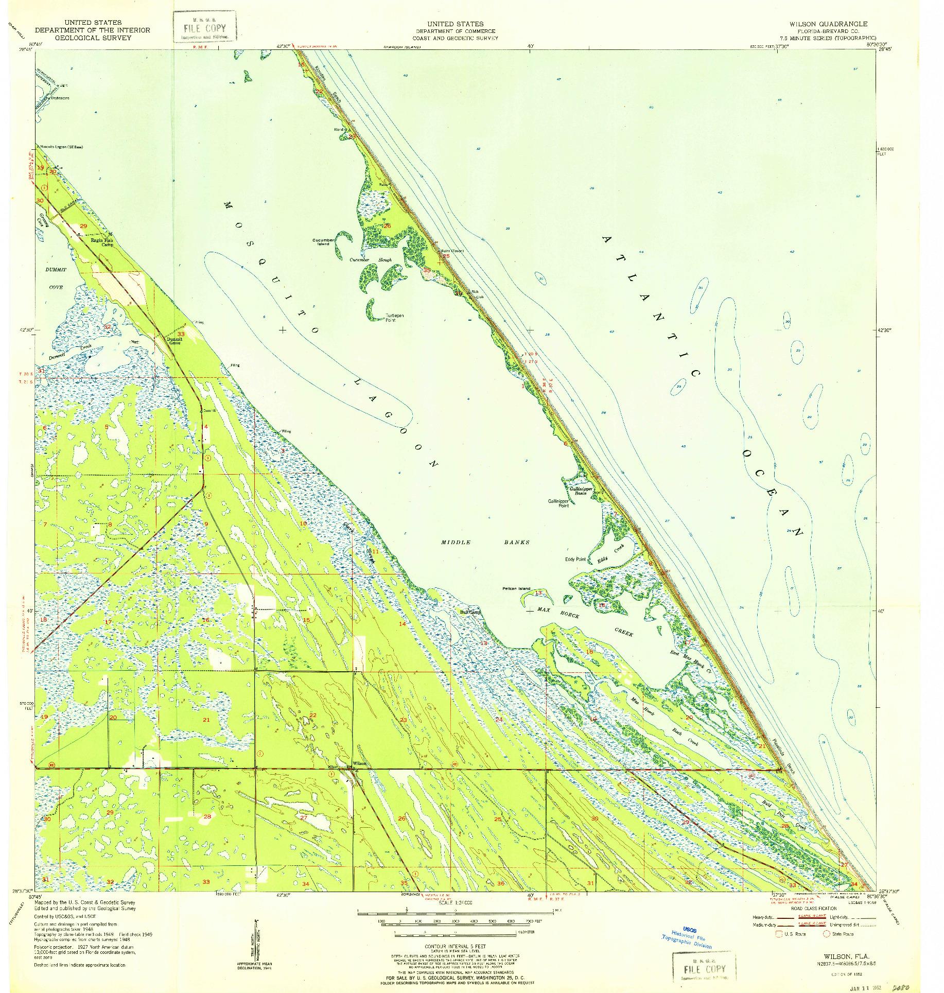 USGS 1:24000-SCALE QUADRANGLE FOR WILSON, FL 1952