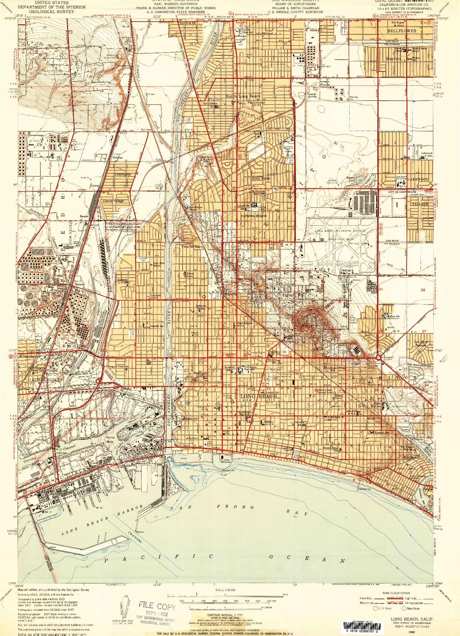 USGS 1:24000-SCALE QUADRANGLE FOR LONG BEACH, CA 1949