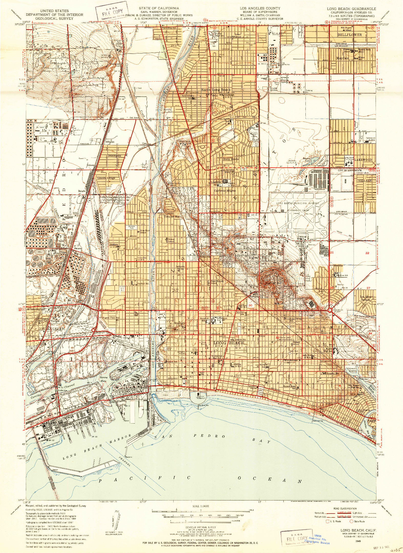 USGS 1:24000-SCALE QUADRANGLE FOR LONG BEACH, CA 1949