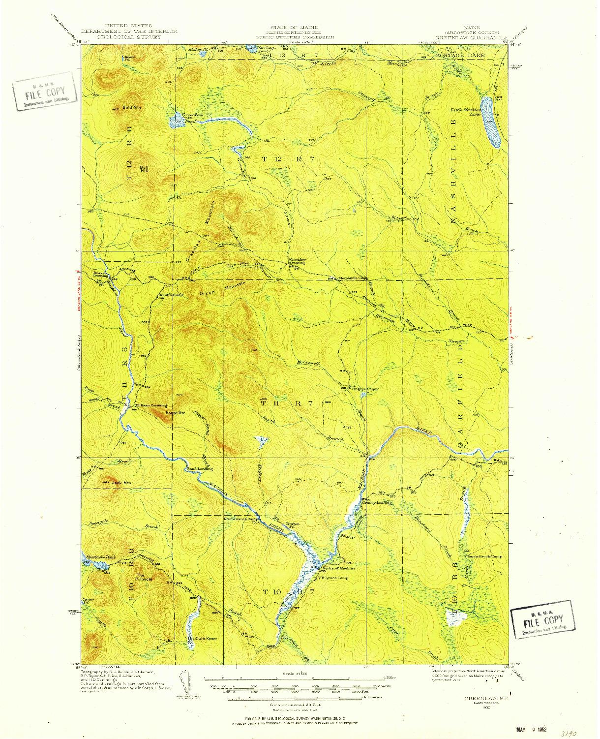 USGS 1:62500-SCALE QUADRANGLE FOR GREENLAW, ME 1930