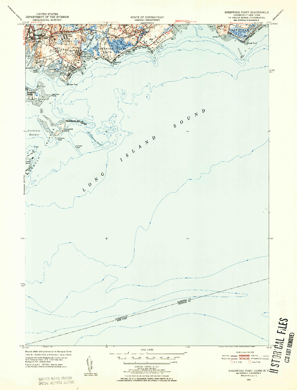 USGS 1:31680-SCALE QUADRANGLE FOR SHERWOOD POINT, CT 1951