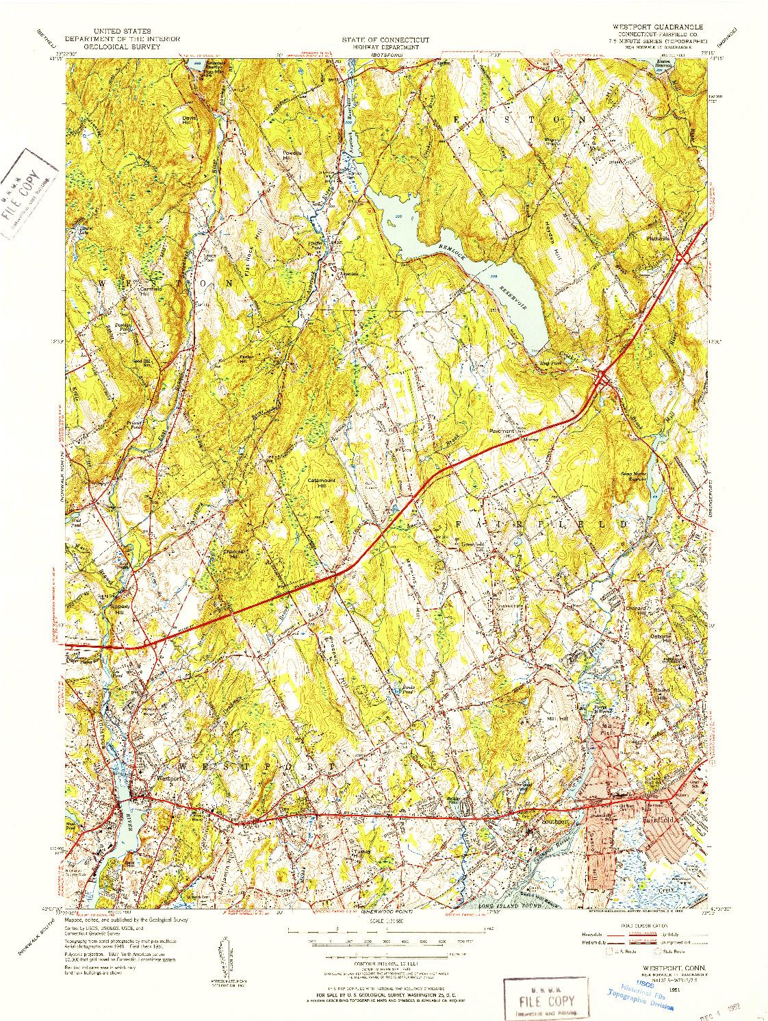 USGS 1:31680-SCALE QUADRANGLE FOR WESTPORT, CT 1951