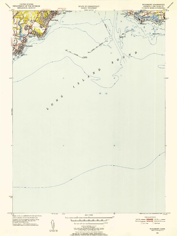 USGS 1:31680-SCALE QUADRANGLE FOR WOODMONT, CT 1951