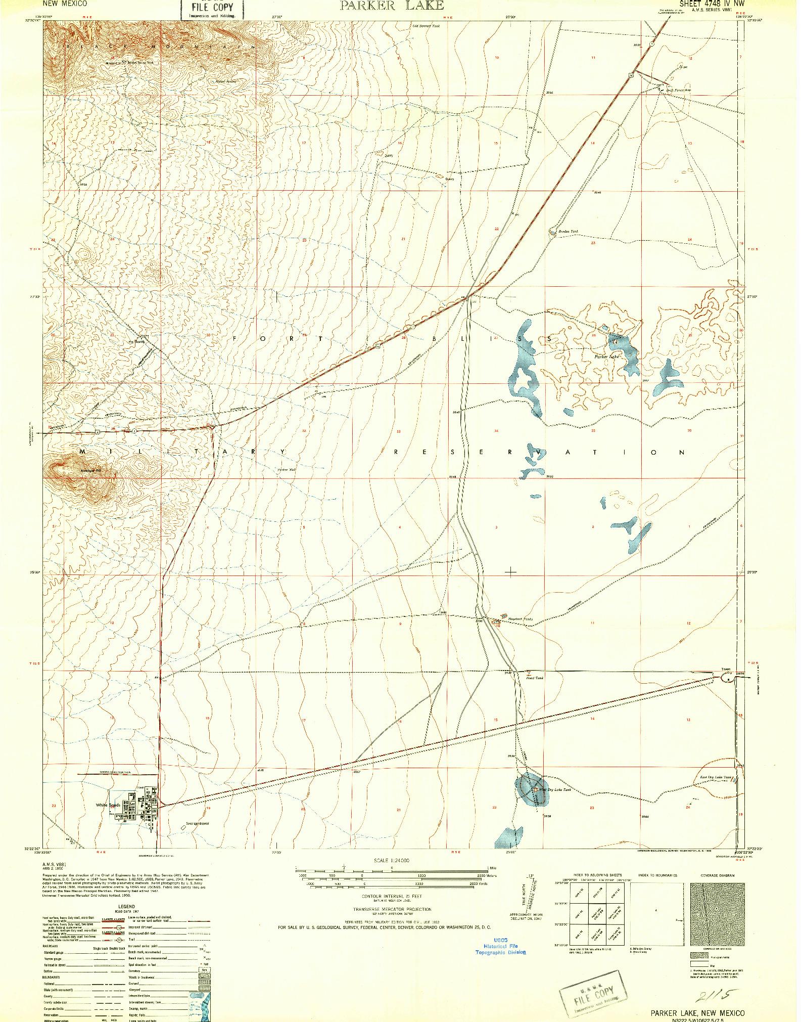 USGS 1:24000-SCALE QUADRANGLE FOR PARKER LAKE, NM 1952