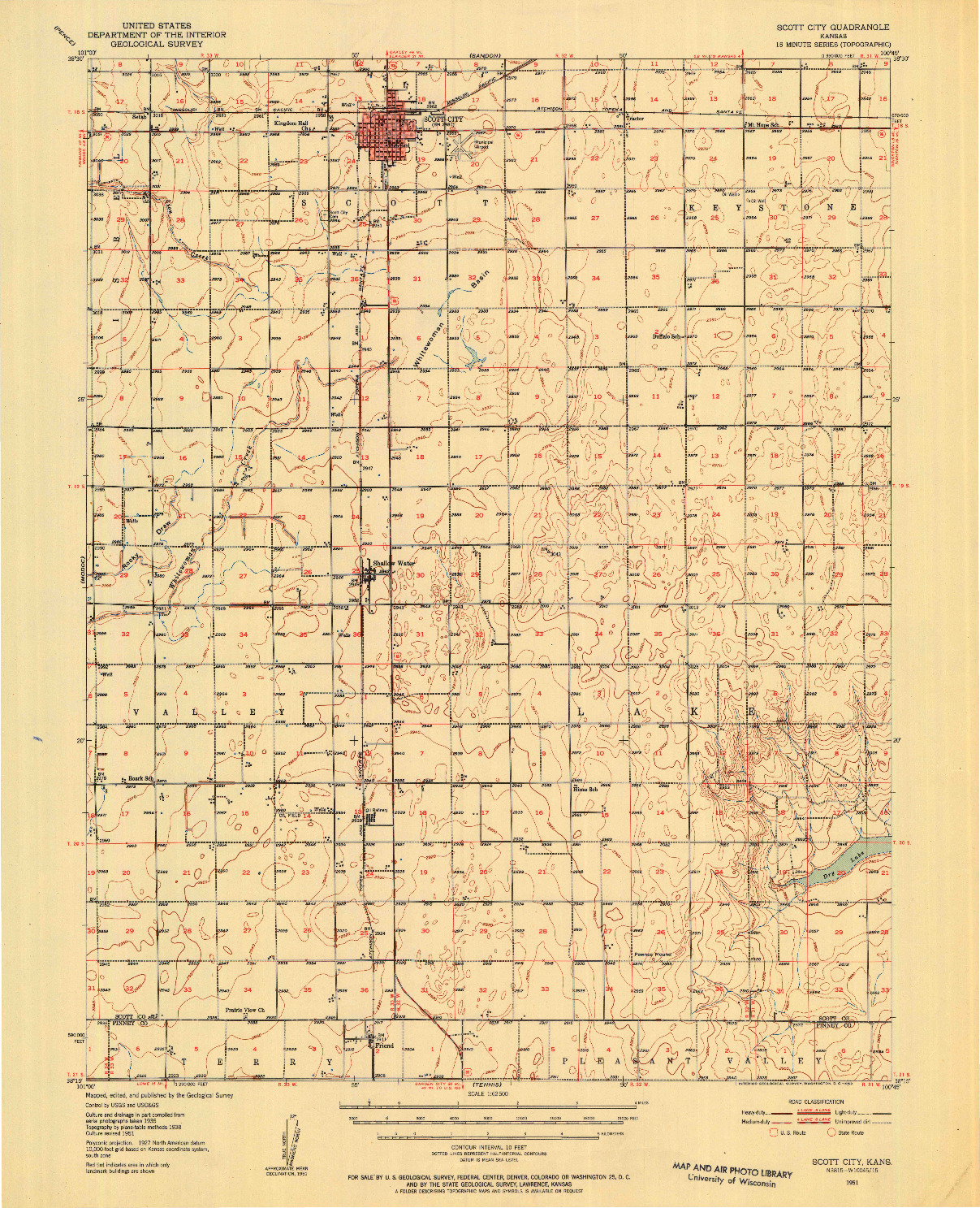 USGS 1:62500-SCALE QUADRANGLE FOR SCOTT CITY, KS 1951