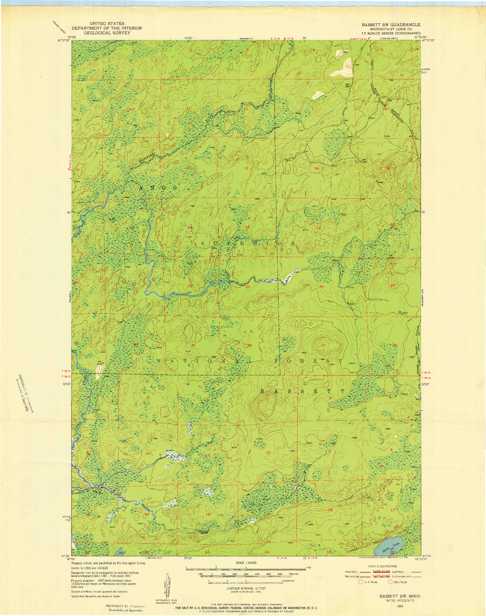 USGS 1:24000-SCALE QUADRANGLE FOR BABBITT SW, MN 1951