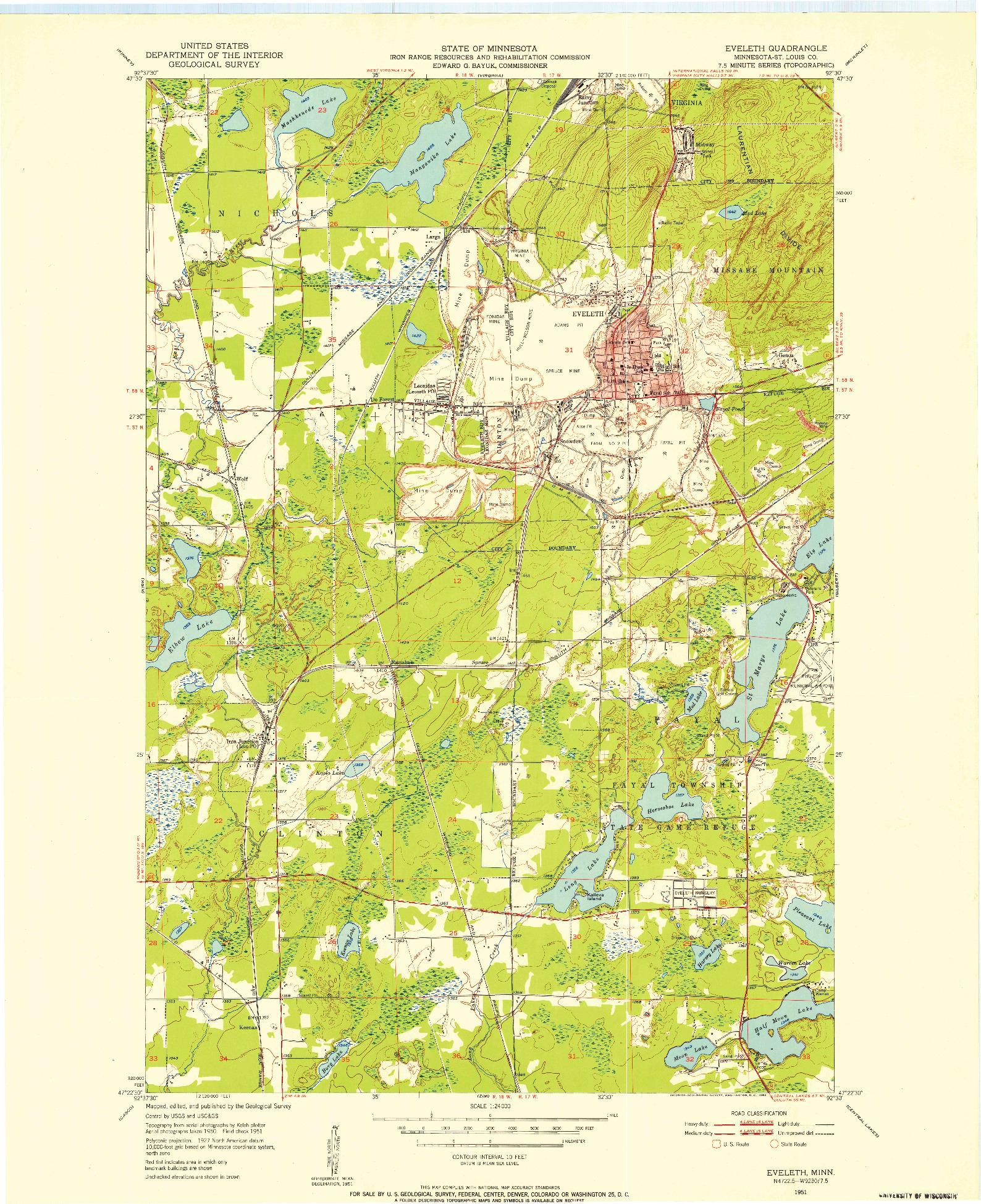 USGS 1:24000-SCALE QUADRANGLE FOR EVELETH, MN 1951