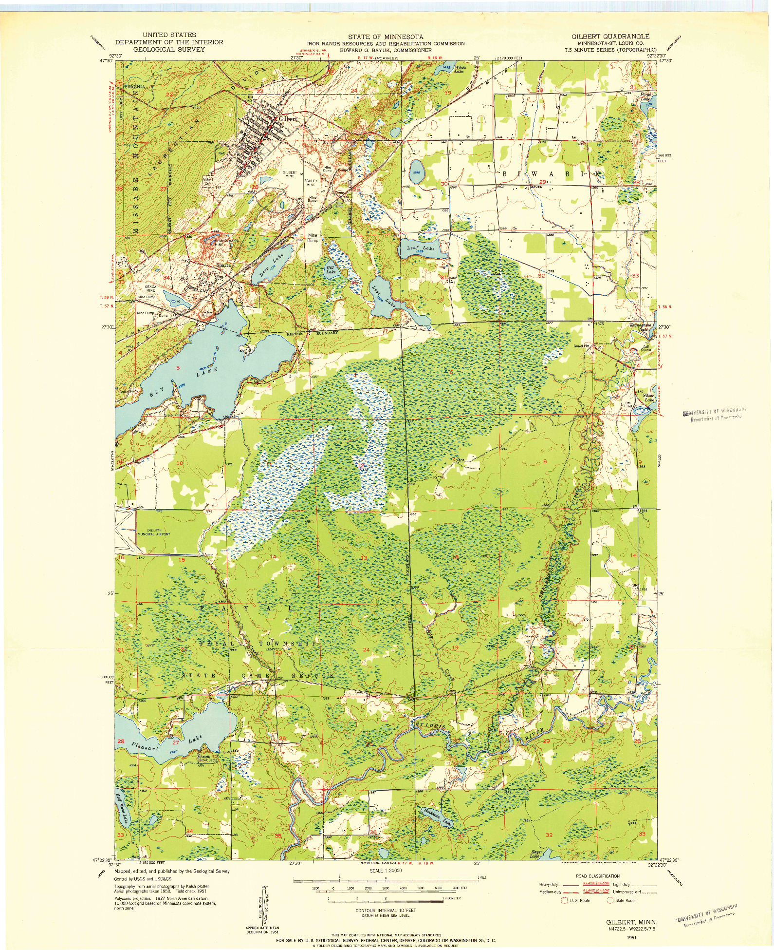 USGS 1:24000-SCALE QUADRANGLE FOR GILBERT, MN 1951