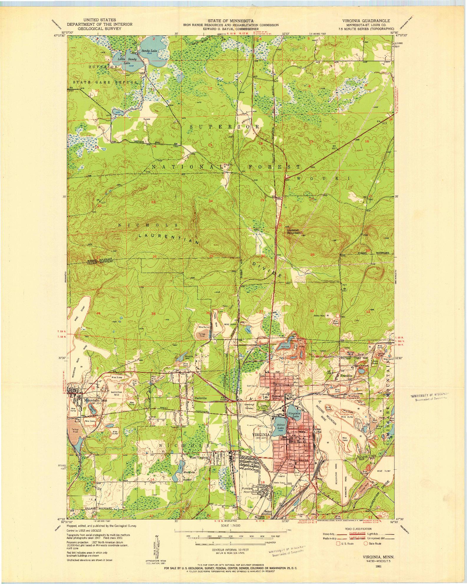USGS 1:24000-SCALE QUADRANGLE FOR VIRGINIA, MN 1951