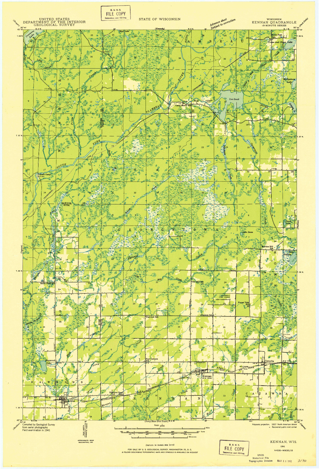 USGS 1:48000-SCALE QUADRANGLE FOR KENNAN, WI 1941
