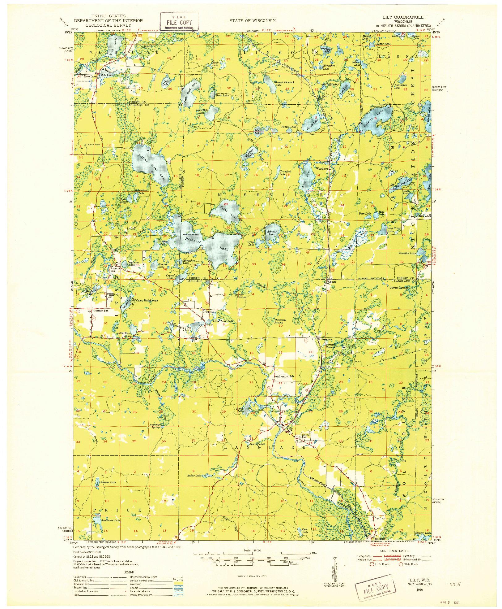 USGS 1:48000-SCALE QUADRANGLE FOR LILY, WI 1950