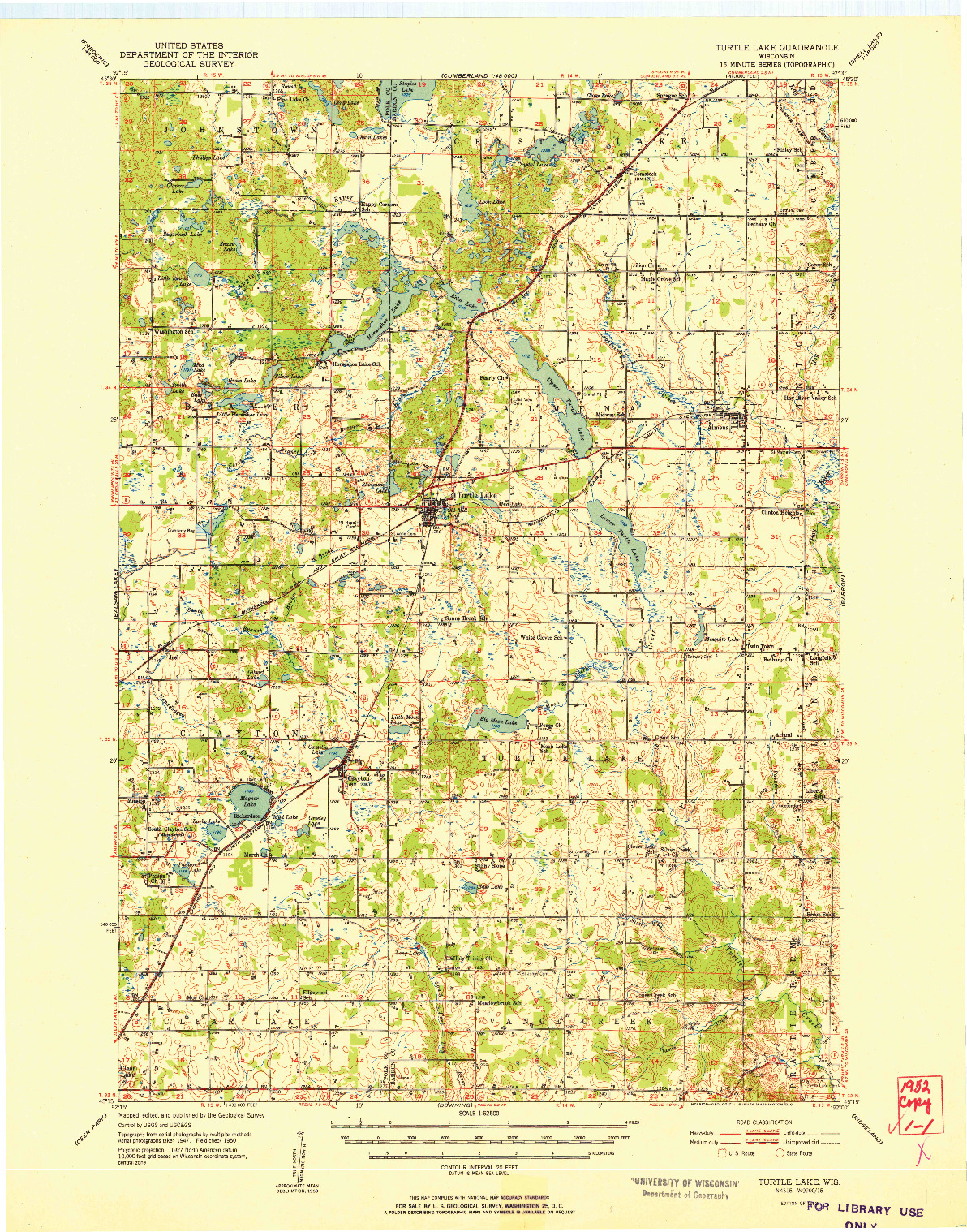 USGS 1:62500-SCALE QUADRANGLE FOR TURTLE LAKE, WI 1952