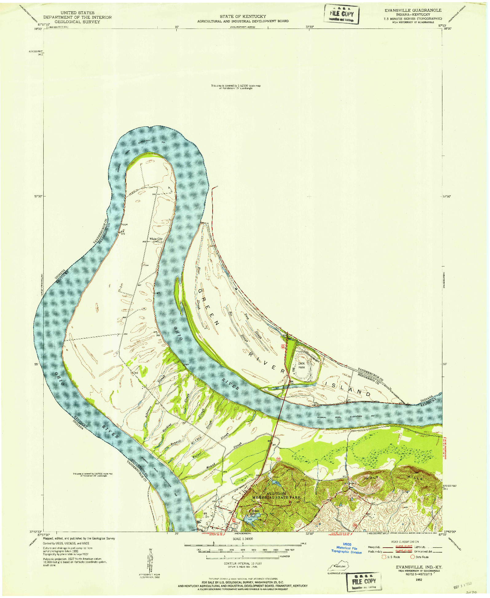 USGS 1:24000-SCALE QUADRANGLE FOR EVANSVILLE, IN 1952