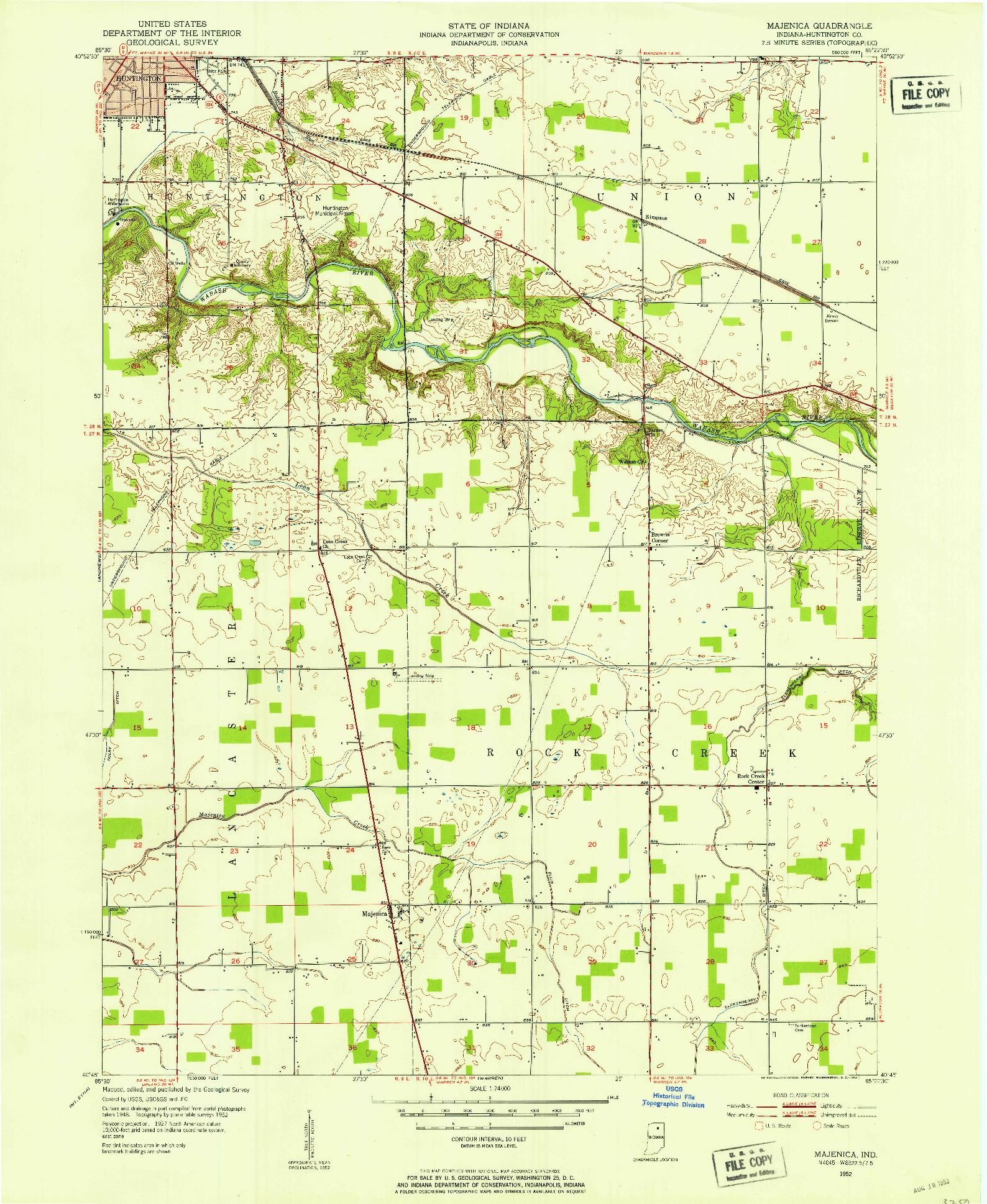 USGS 1:24000-SCALE QUADRANGLE FOR MAJENICA, IN 1952