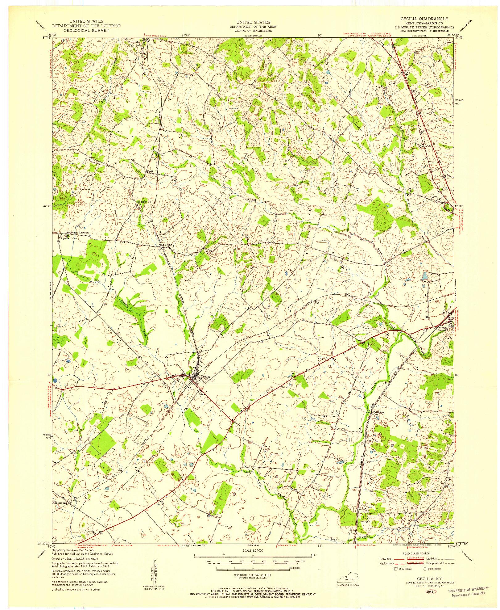 USGS 1:24000-SCALE QUADRANGLE FOR CECILIA, KY 1948