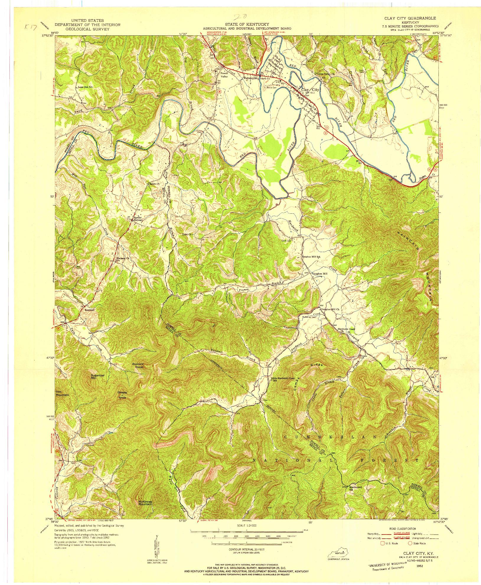 USGS 1:24000-SCALE QUADRANGLE FOR CLAY CITY, KY 1952