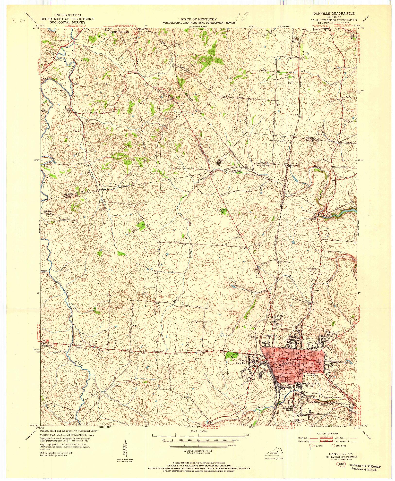 USGS 1:24000-SCALE QUADRANGLE FOR DANVILLE, KY 1952