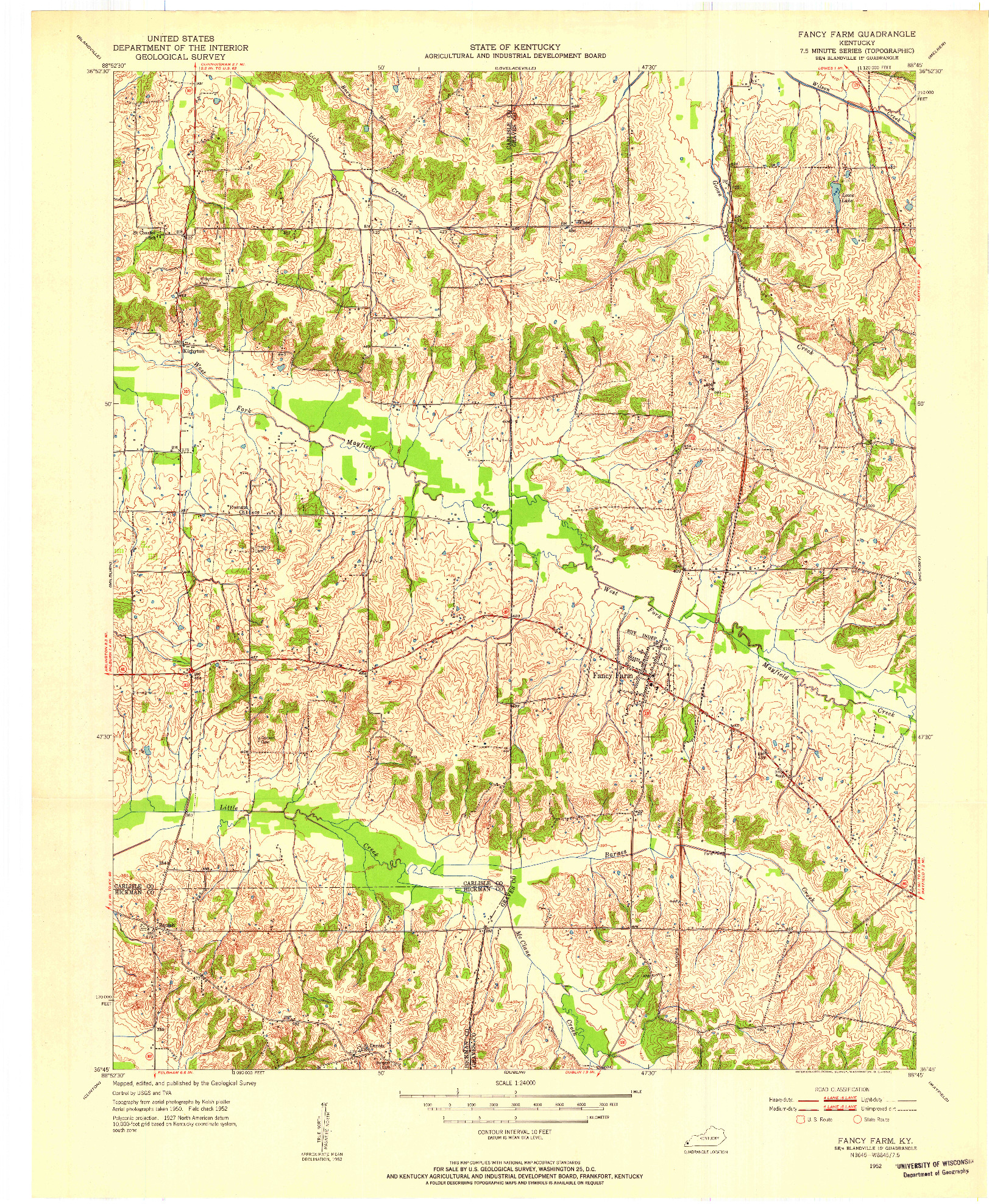 USGS 1:24000-SCALE QUADRANGLE FOR FANCY FARM, KY 1952