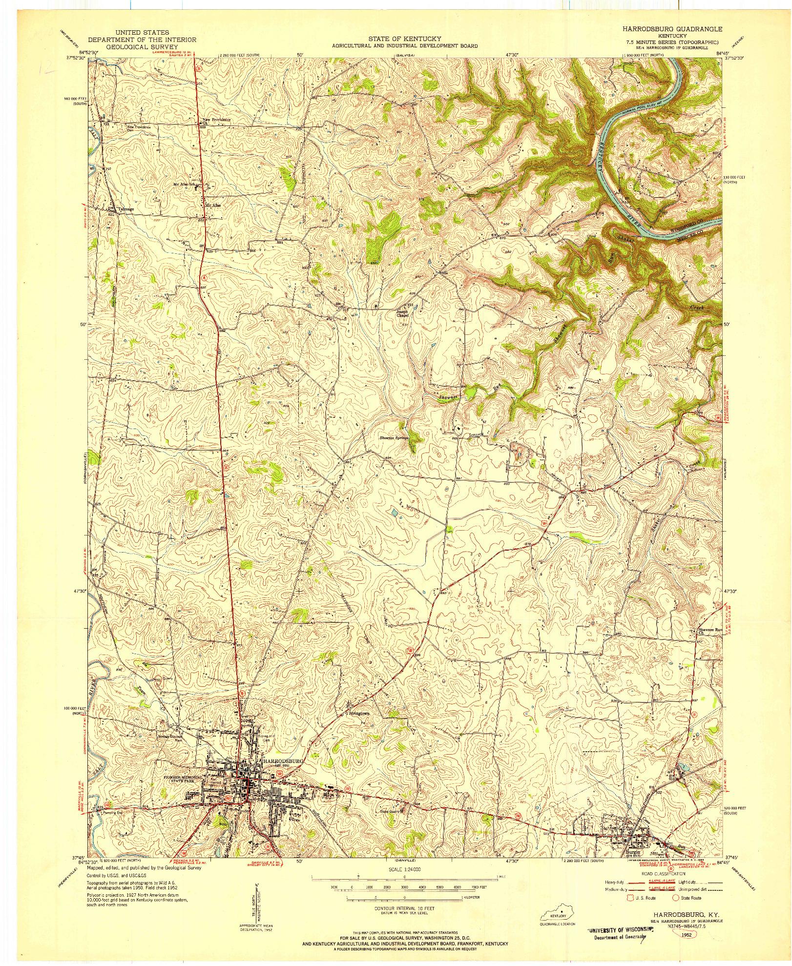 USGS 1:24000-SCALE QUADRANGLE FOR HARRODSBURG, KY 1952
