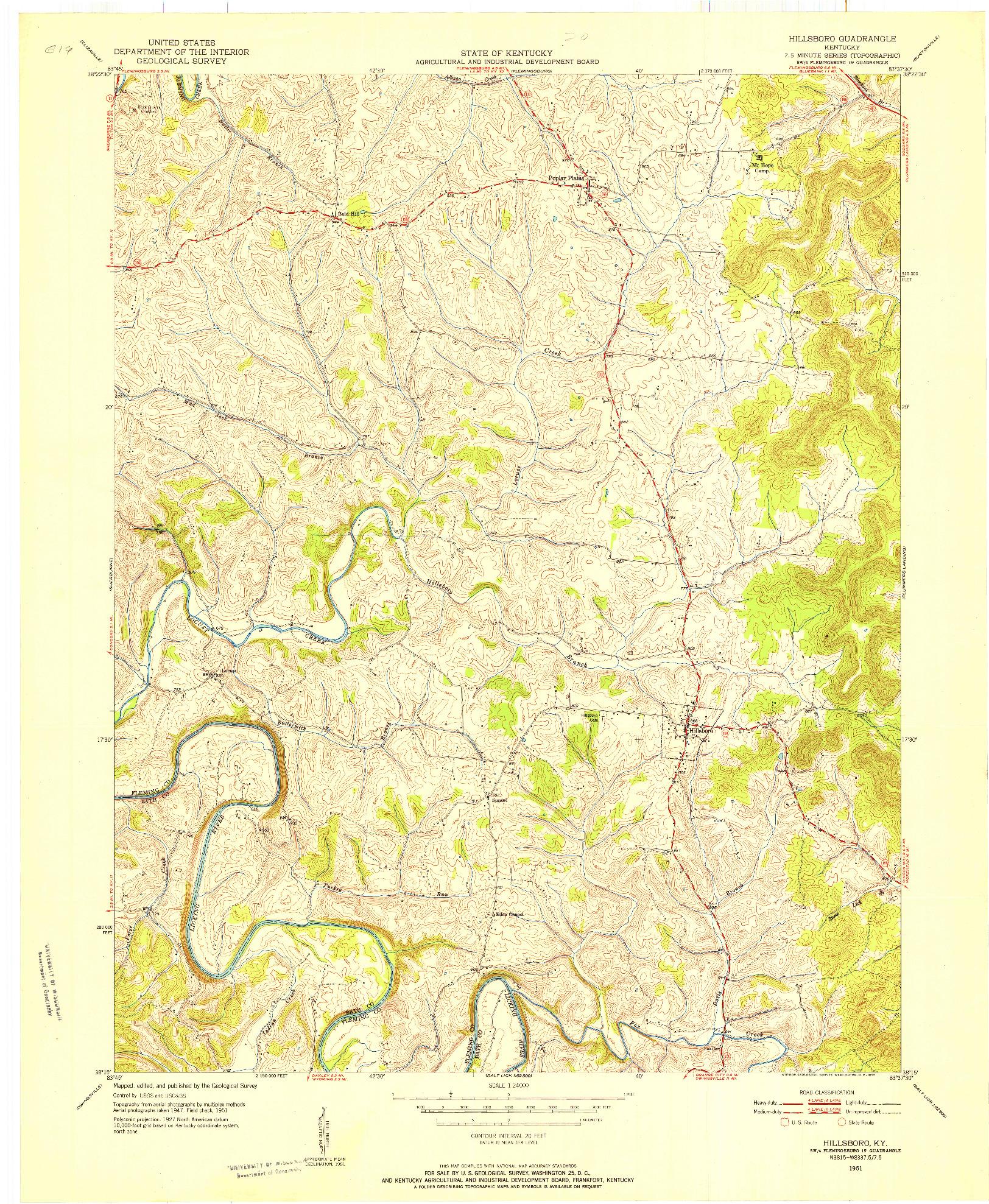 USGS 1:24000-SCALE QUADRANGLE FOR HILLSBORO, KY 1951