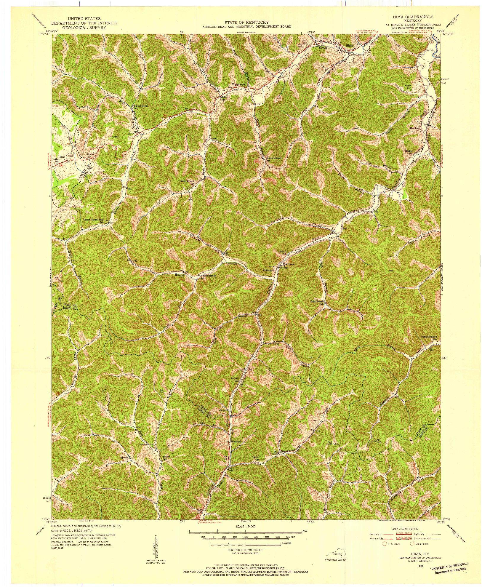 USGS 1:24000-SCALE QUADRANGLE FOR HIMA, KY 1952