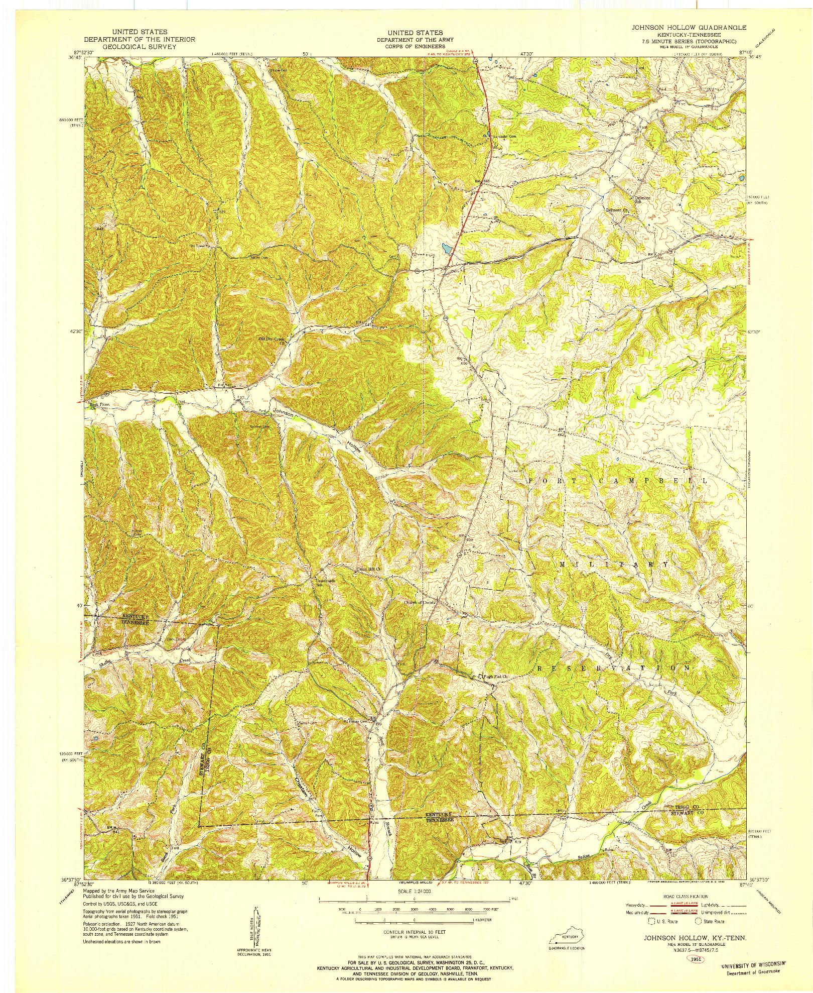 USGS 1:24000-SCALE QUADRANGLE FOR JOHNSON HOLLOW, KY 1951