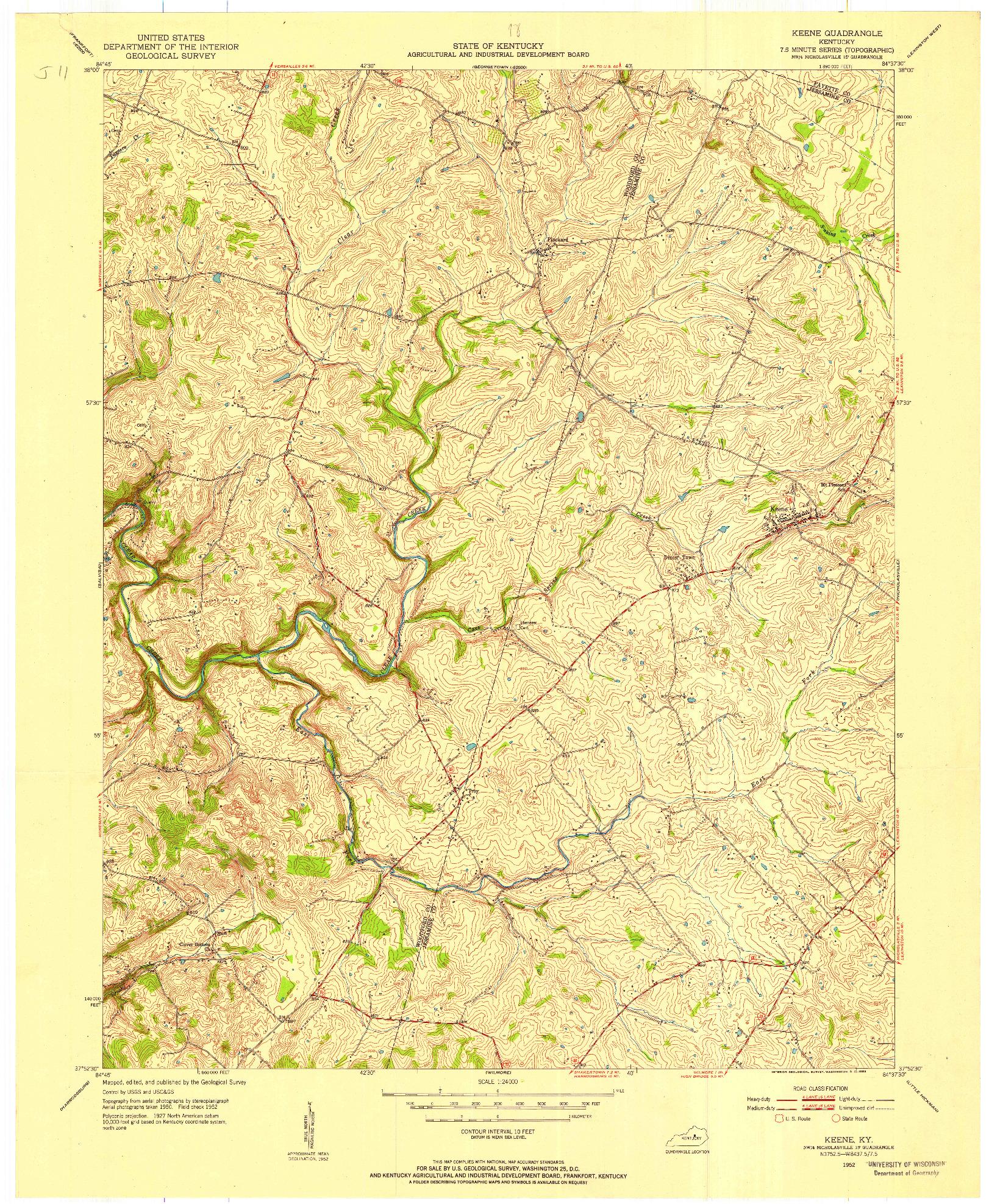 USGS 1:24000-SCALE QUADRANGLE FOR KEENE, KY 1952