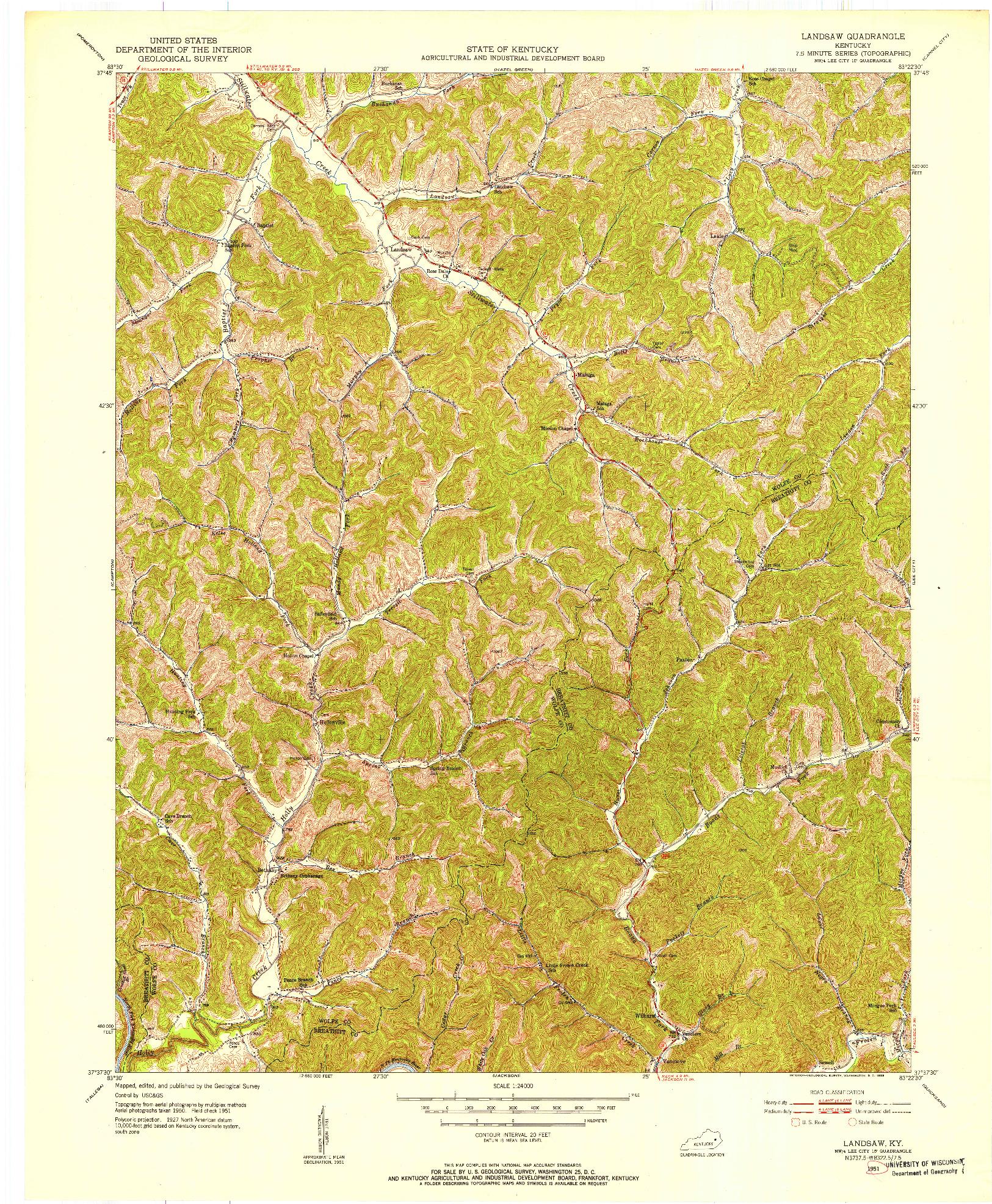 USGS 1:24000-SCALE QUADRANGLE FOR LANDSAW, KY 1951