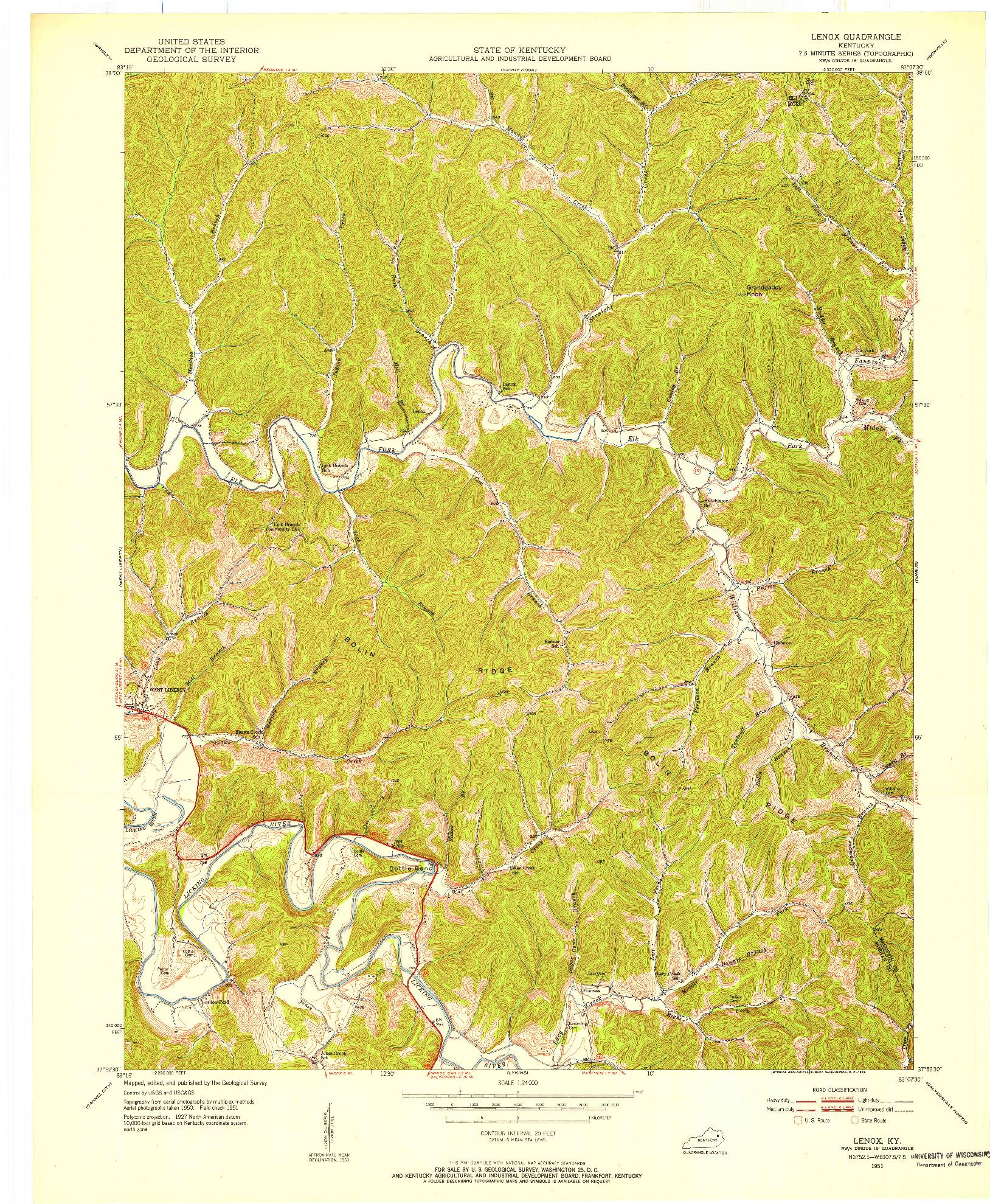 USGS 1:24000-SCALE QUADRANGLE FOR LENOX, KY 1950