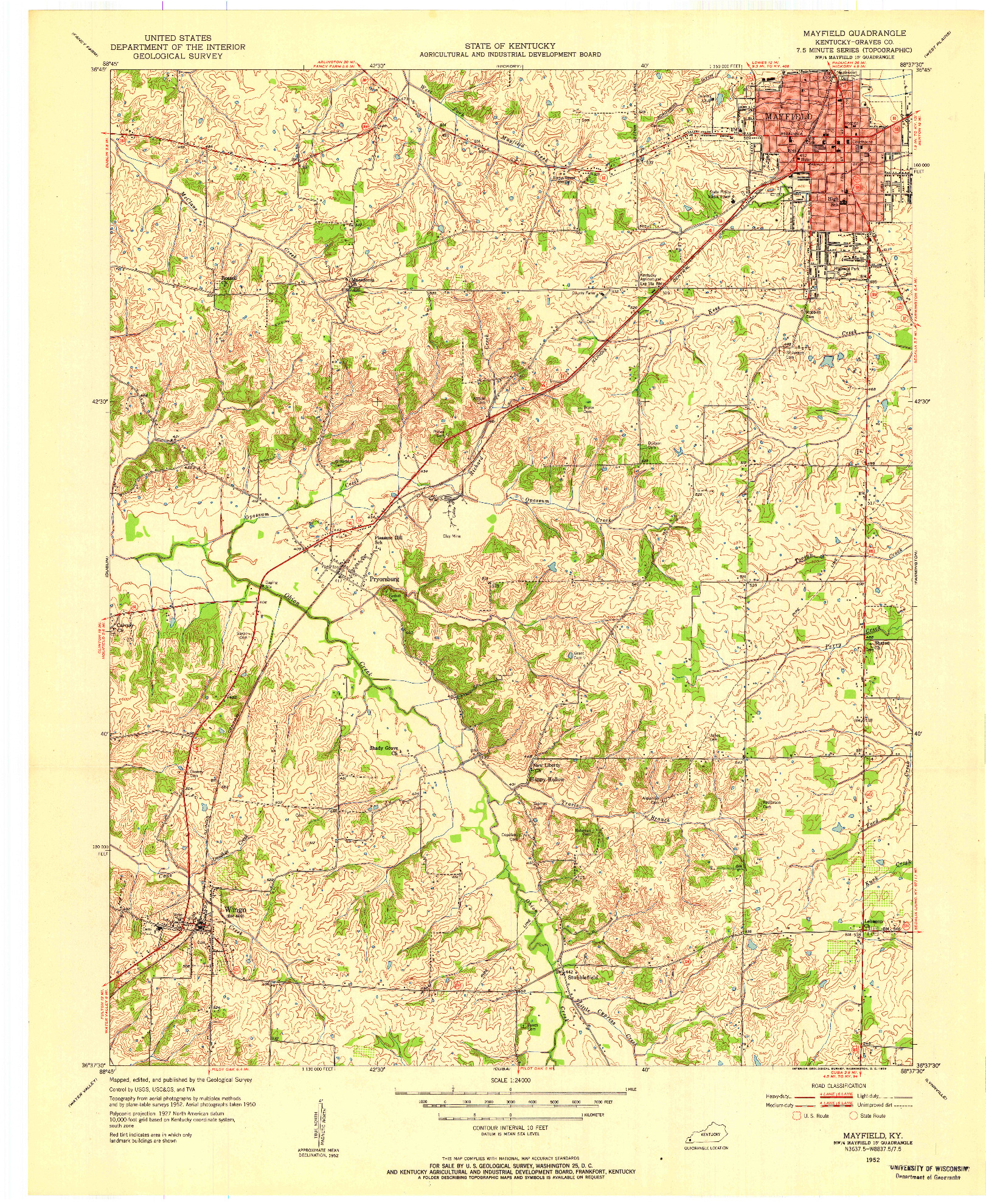 USGS 1:24000-SCALE QUADRANGLE FOR MAYFIELD, KY 1952