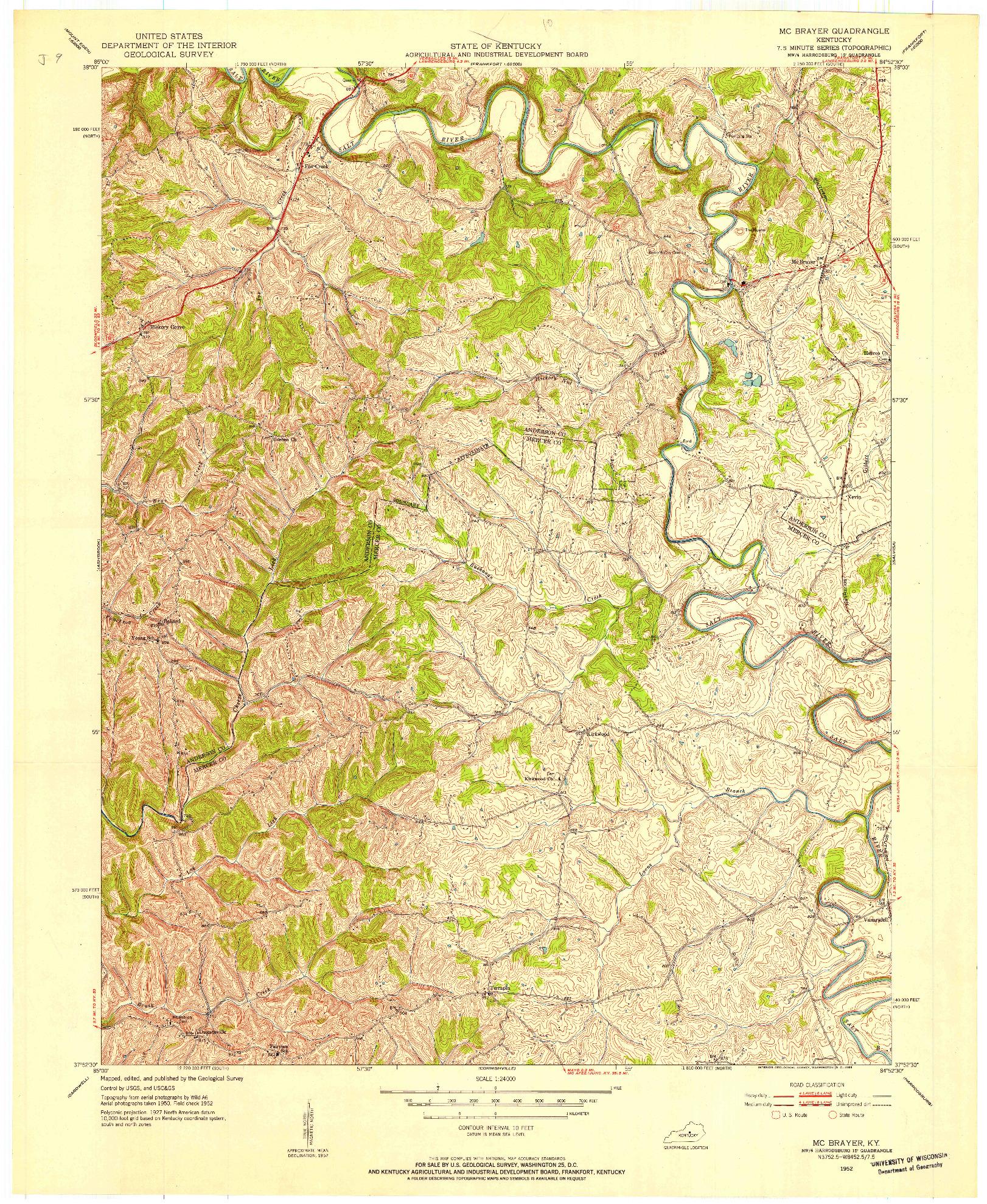 USGS 1:24000-SCALE QUADRANGLE FOR MC BRAYER, KY 1952