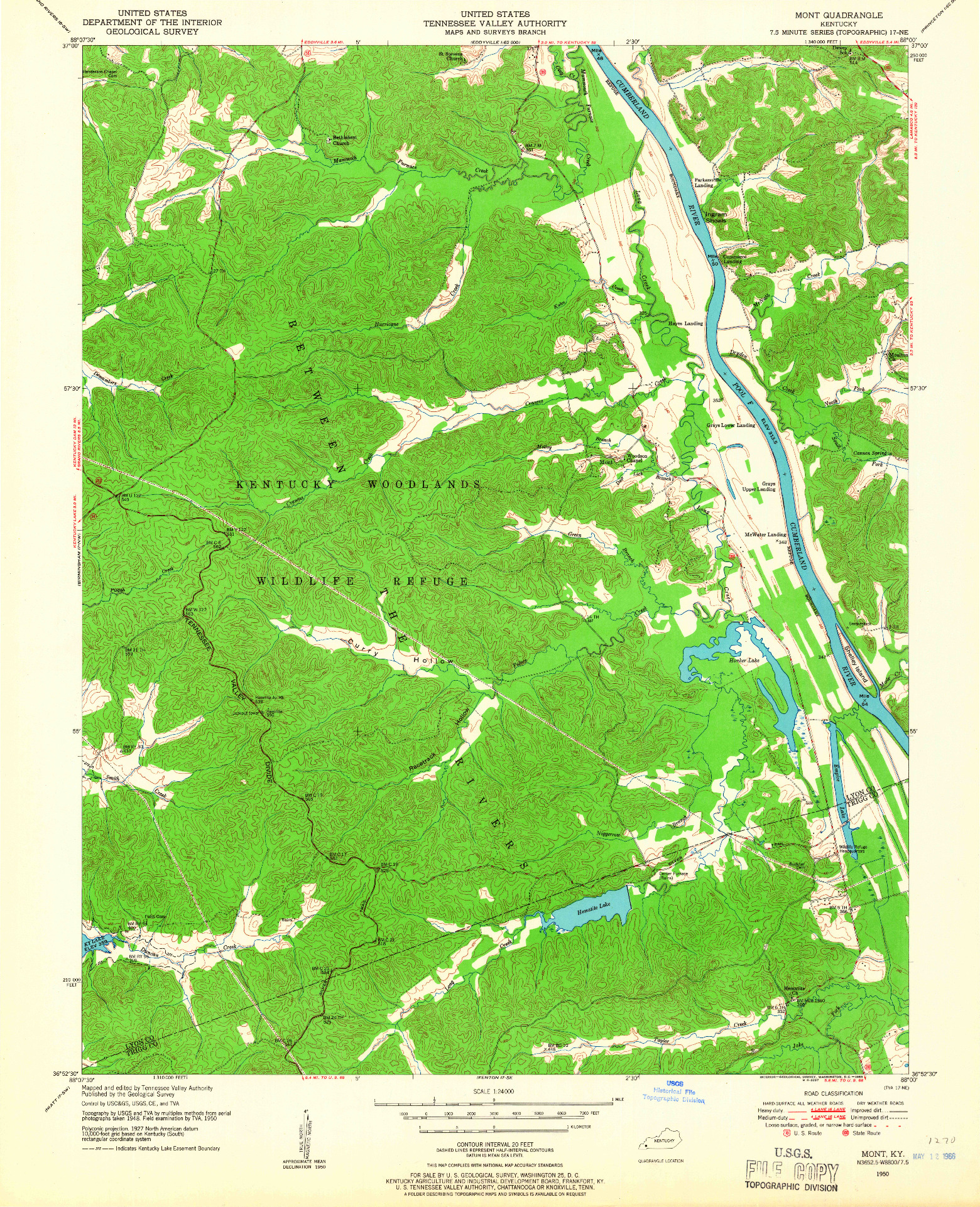 USGS 1:24000-SCALE QUADRANGLE FOR MONT, KY 1950