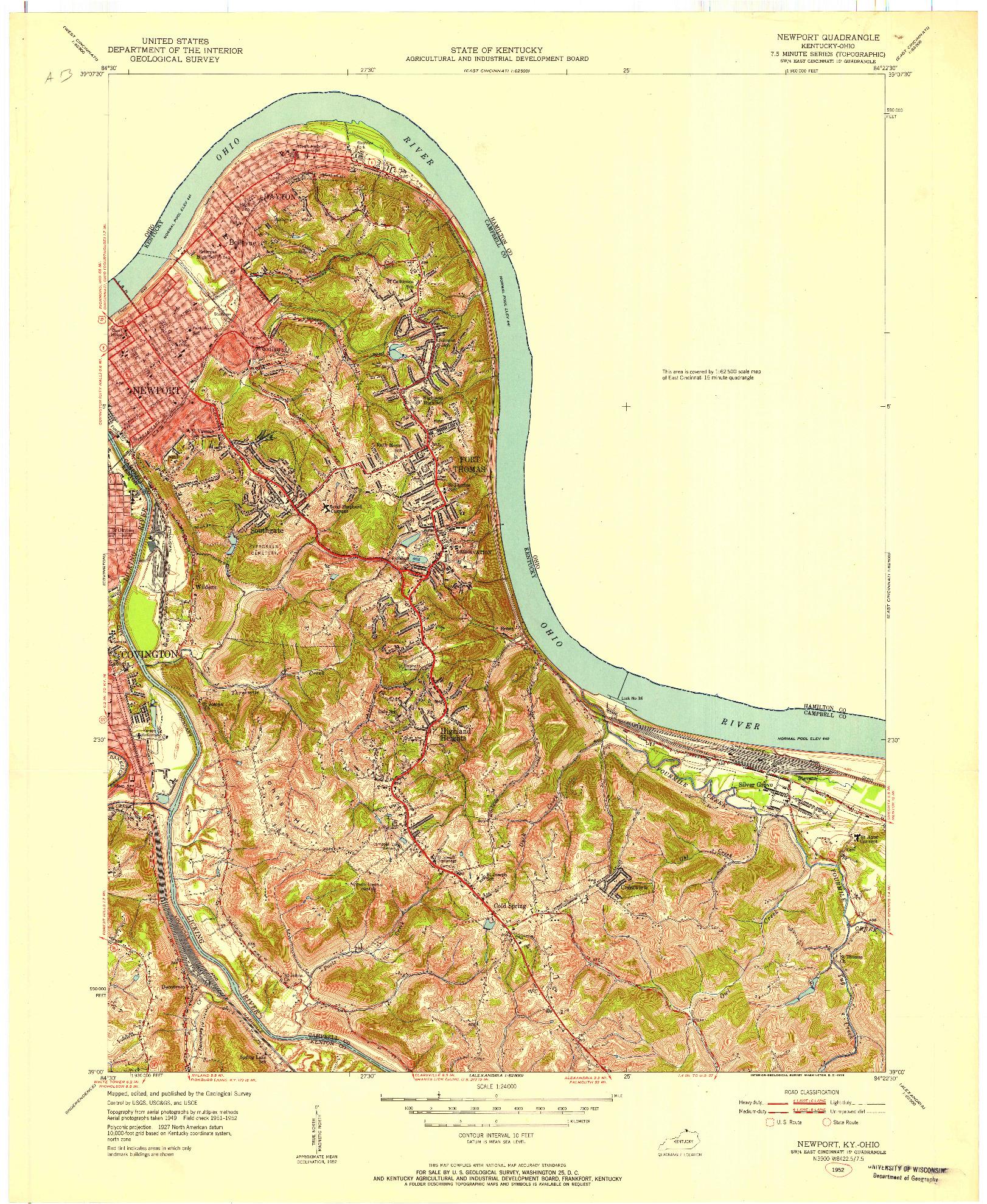 USGS 1:24000-SCALE QUADRANGLE FOR NEWPORT, KY 1952