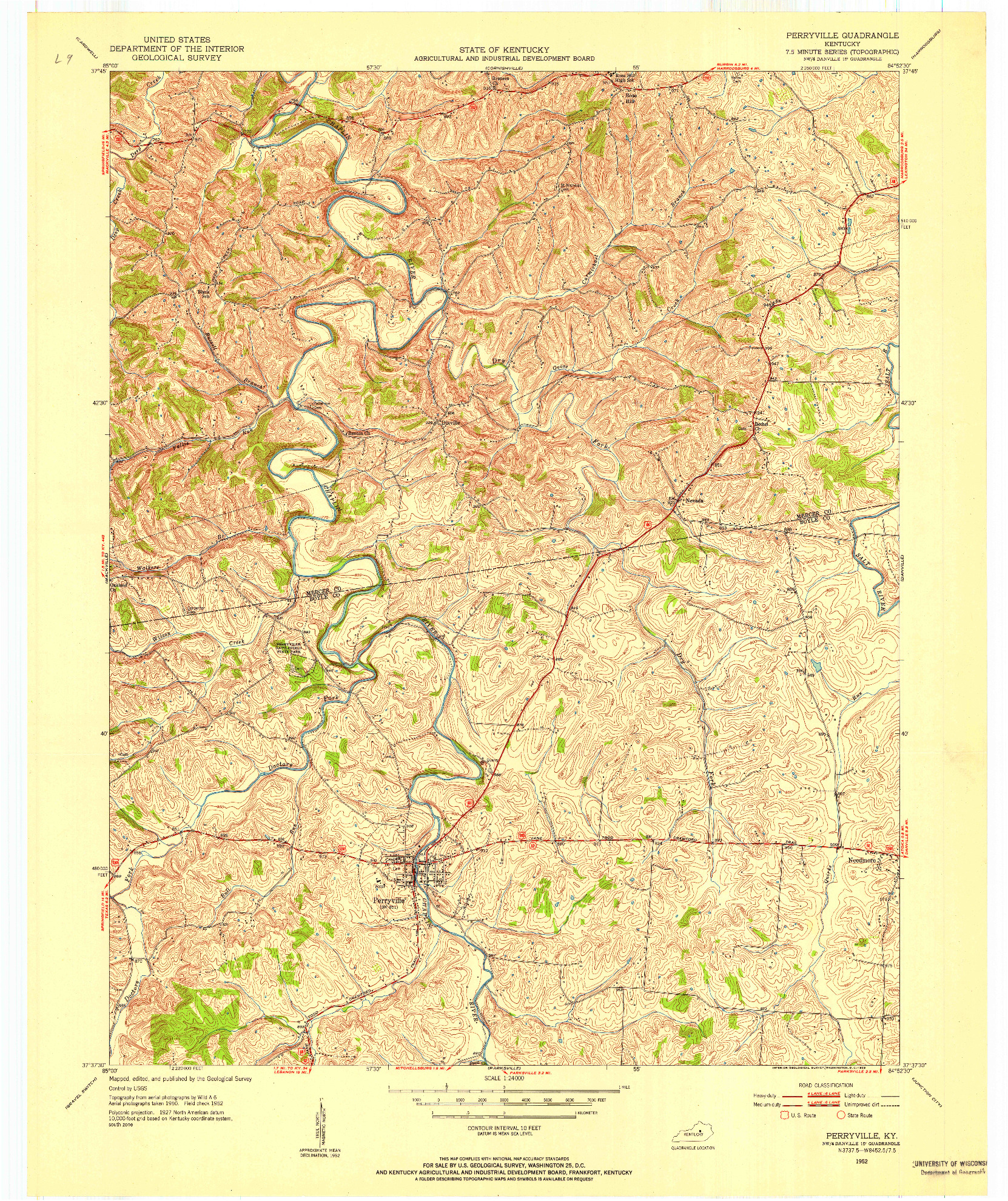 USGS 1:24000-SCALE QUADRANGLE FOR PERRYVILLE, KY 1952