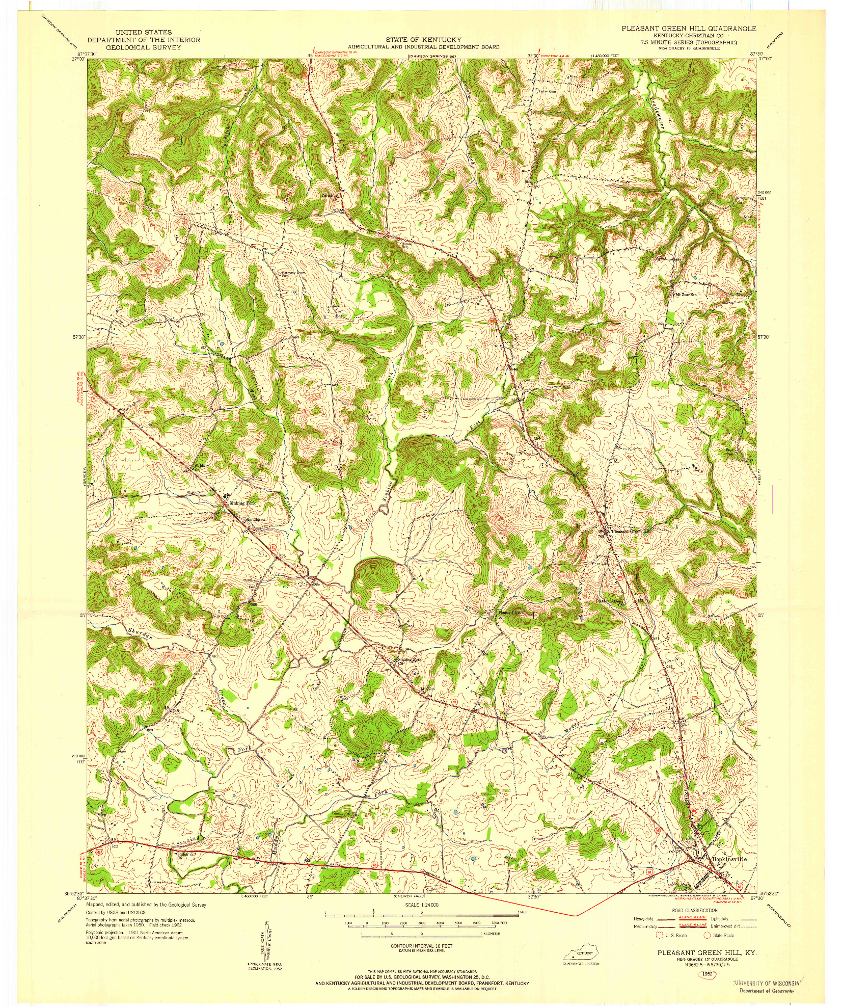 USGS 1:24000-SCALE QUADRANGLE FOR PLEASANT GREEN HILL, KY 1952