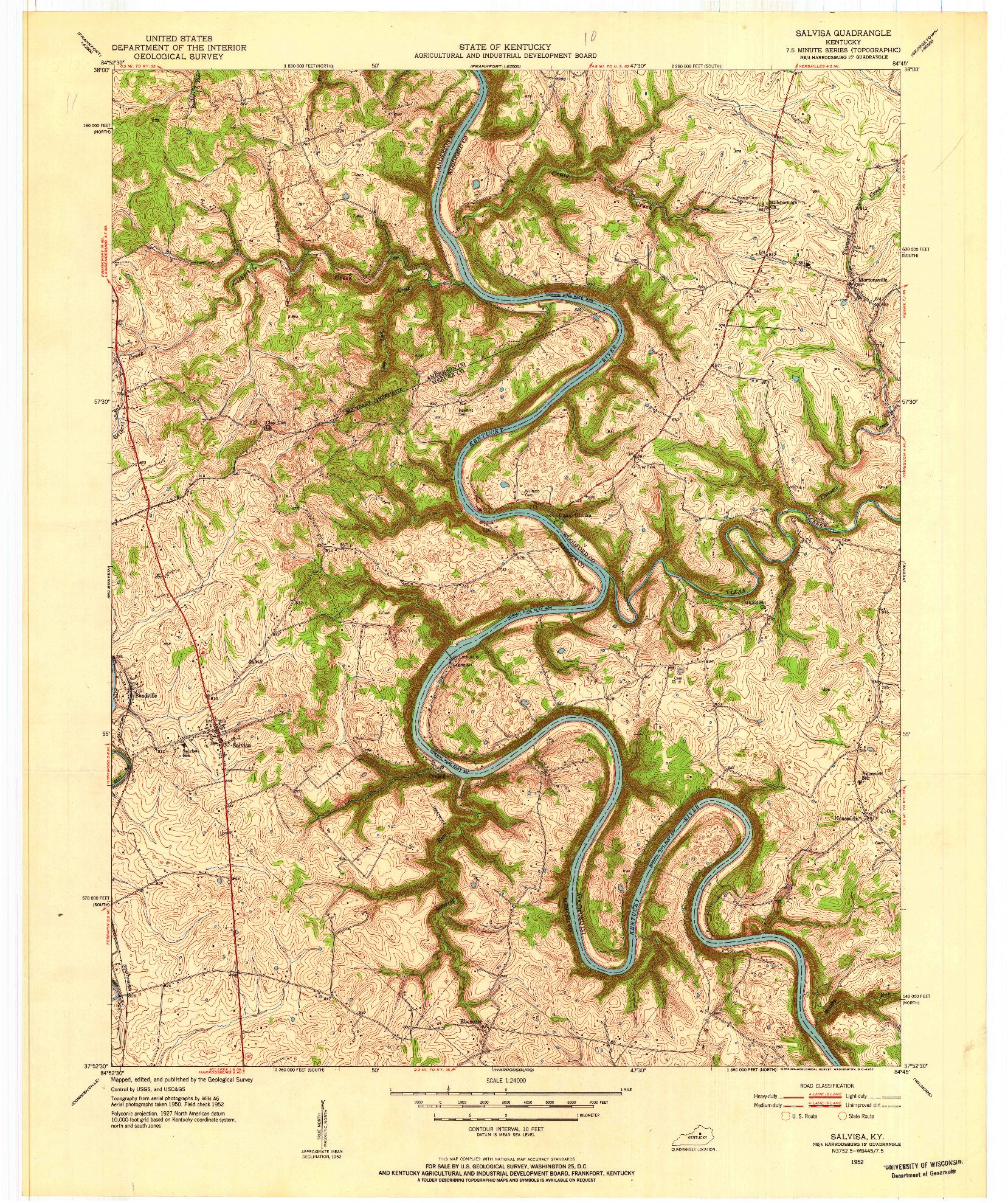 USGS 1:24000-SCALE QUADRANGLE FOR SALVISA, KY 1952