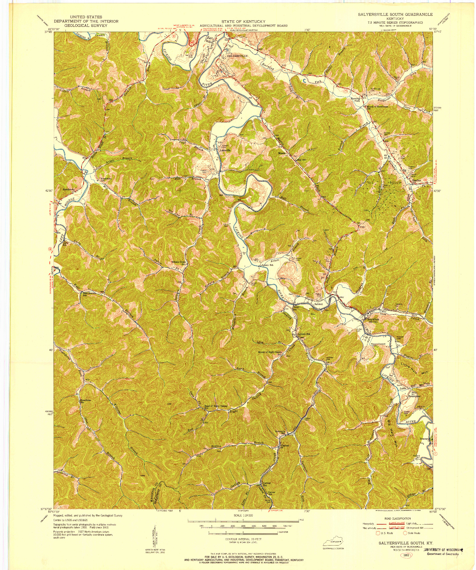 USGS 1:24000-SCALE QUADRANGLE FOR SALYERSVILLE SOUTH, KY 1951